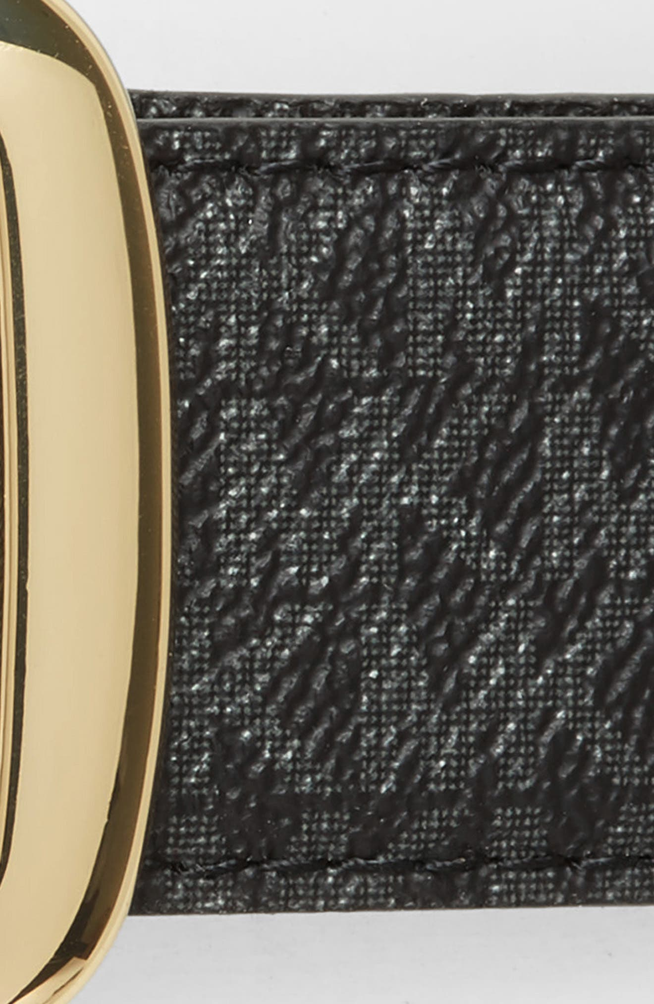 MICHAEL MICHAEL KORS, Logo Reversible Calfskin Leather Belt, Alternate thumbnail 4, color, BLACK/ ACORN