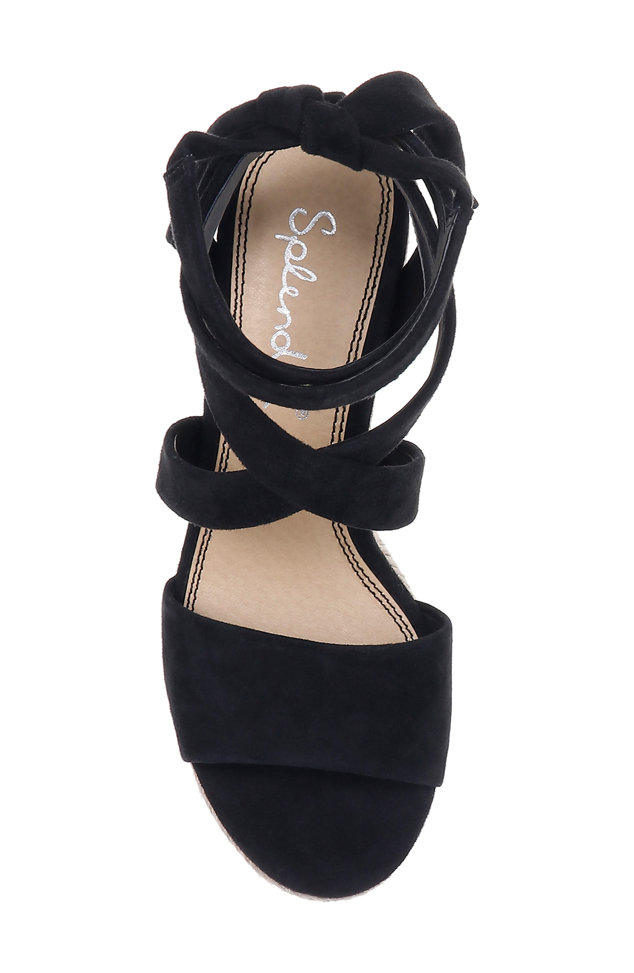 SPLENDID, Tessie Ankle Wrap Wedge Sandal, Alternate thumbnail 5, color, BLACK SUEDE