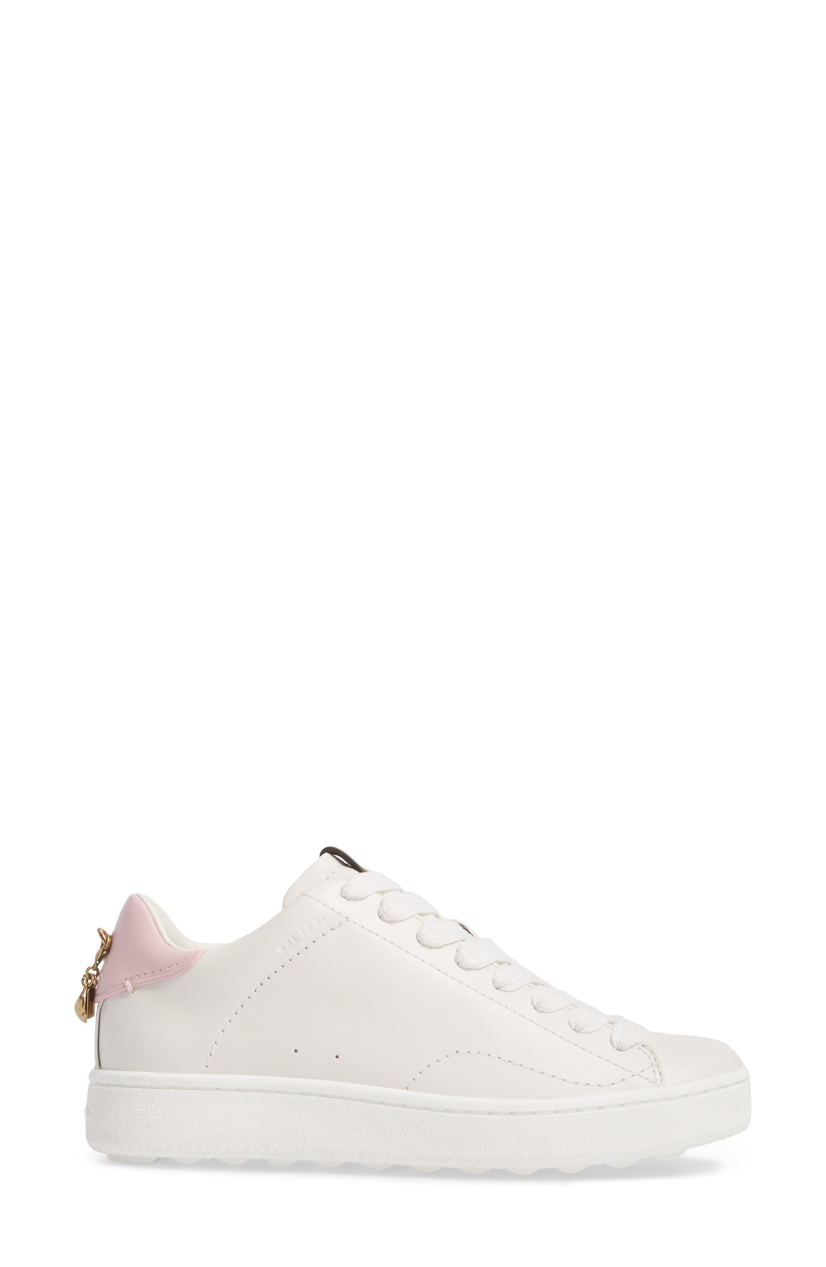 COACH, Sneaker, Alternate thumbnail 3, color, WHITE/ PETAL LEATHER
