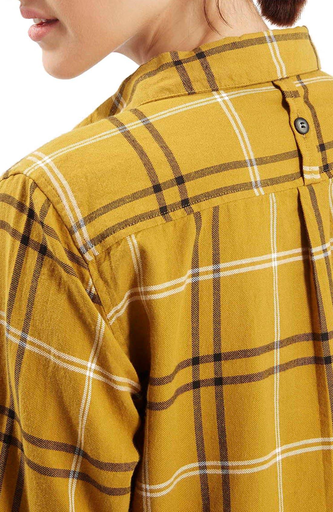 TOPSHOP, 'Billie' Check Button FrontBoyfriend Shirt, Alternate thumbnail 4, color, 701