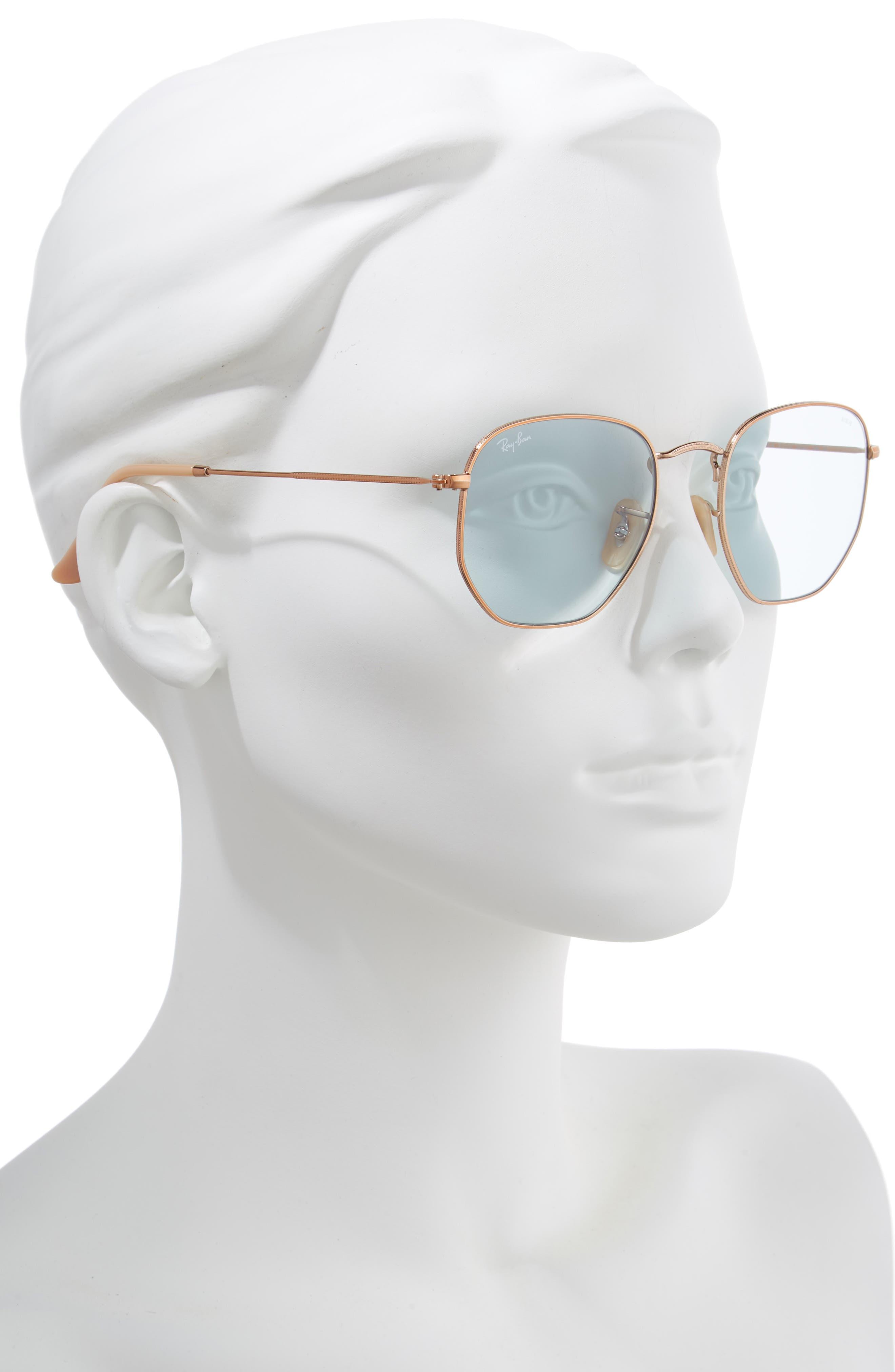 RAY-BAN, 54mm Evolve Photochromic Hexagon Sunglasses, Alternate thumbnail 2, color, GOLD/ LIGHT BLUE SOLID