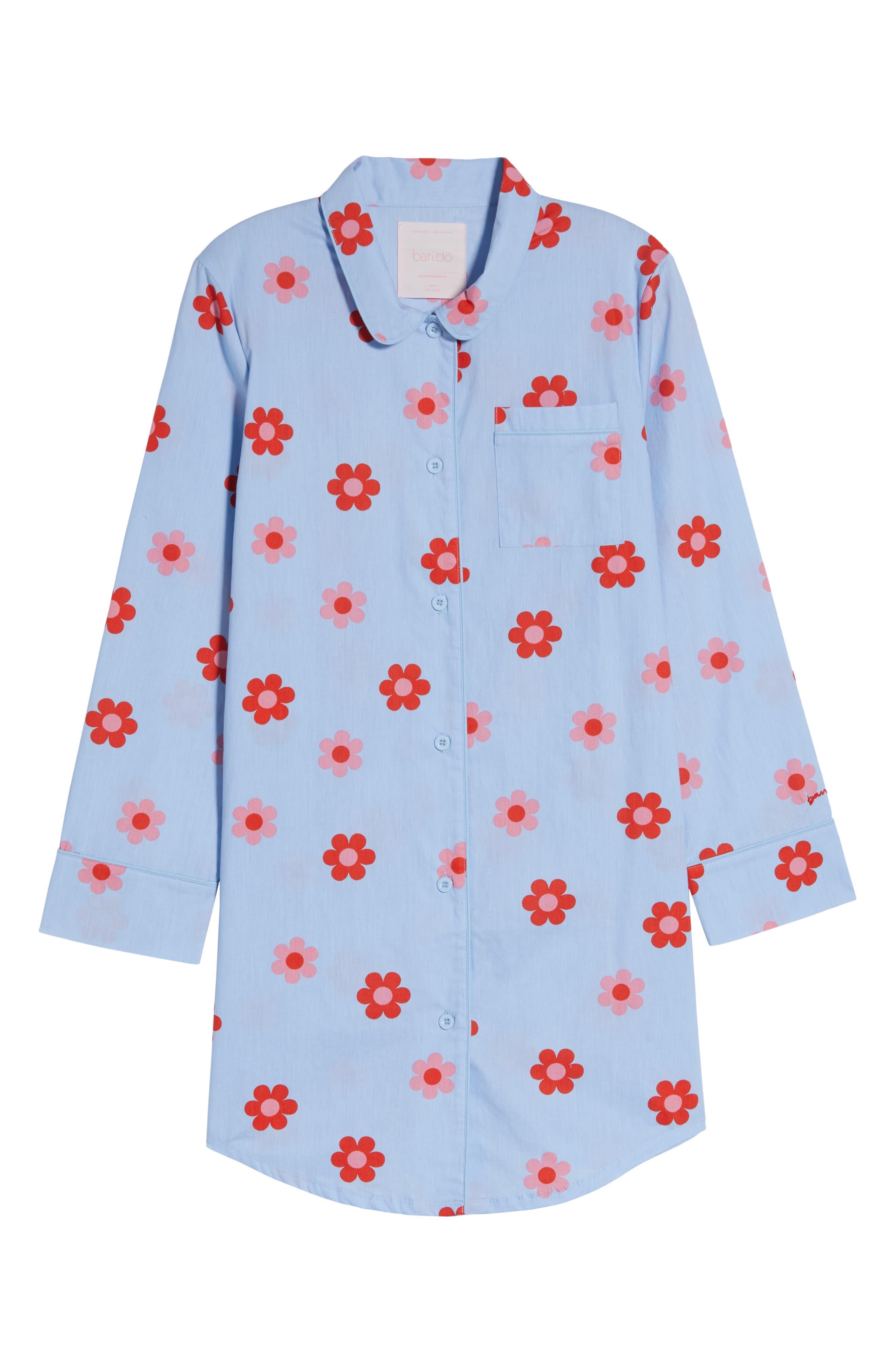 BAN.DO, Retro Daisy Sleep Shirt, Alternate thumbnail 6, color, LIGHT BLUE