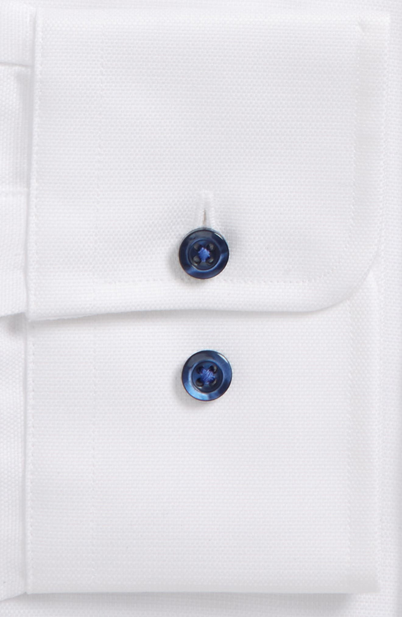DAVID DONAHUE, Trim Fit Solid Dress Shirt, Alternate thumbnail 2, color, WHITE