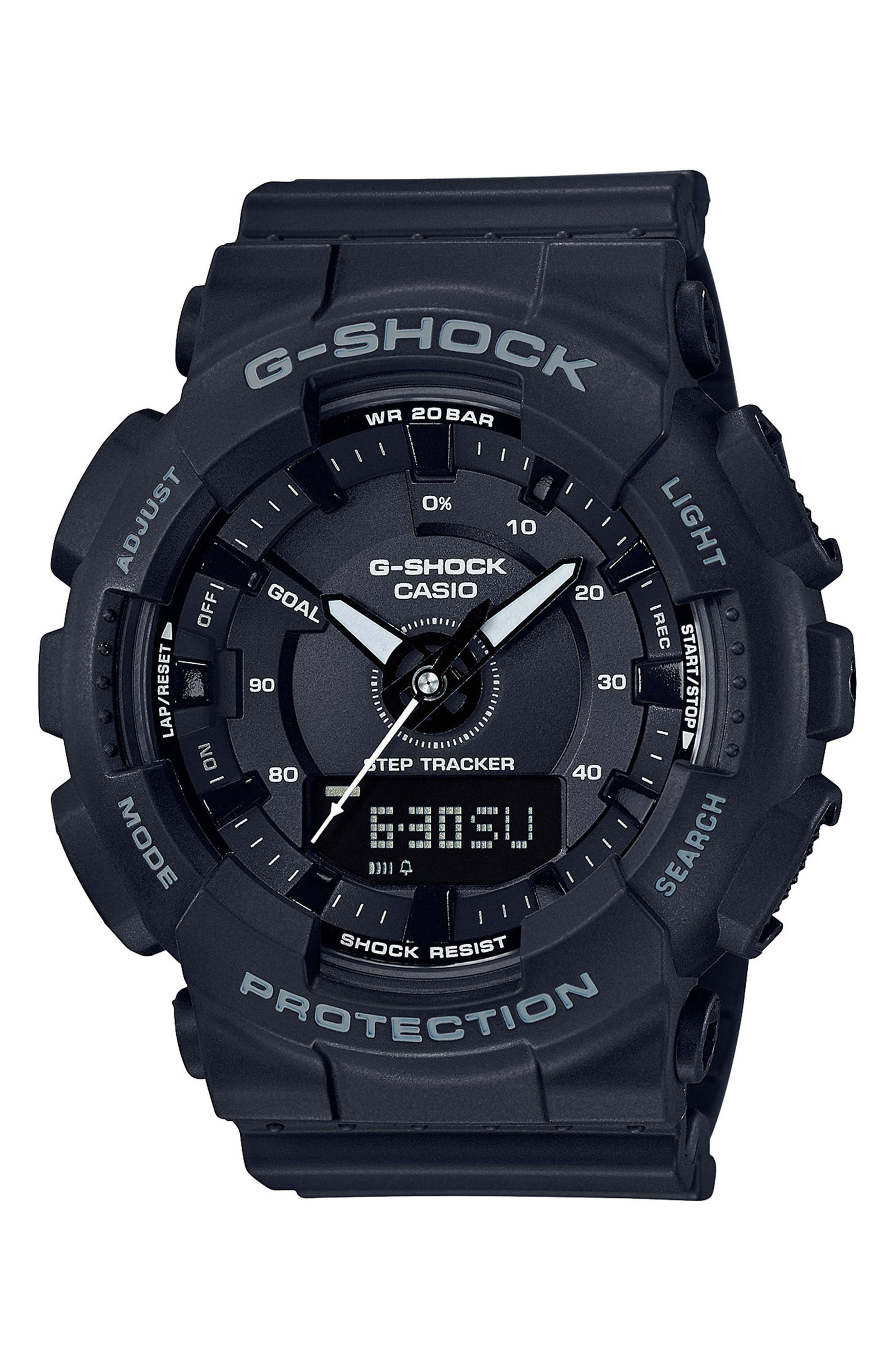 G-SHOCK BABY-G, S-Series Resin Ana-Digi Watch, 46mm, Main thumbnail 1, color, 001