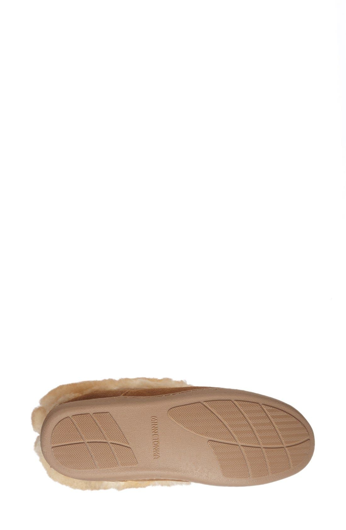 MINNETONKA, Sheepskin Slipper Bootie, Alternate thumbnail 4, color, TAN SUEDE