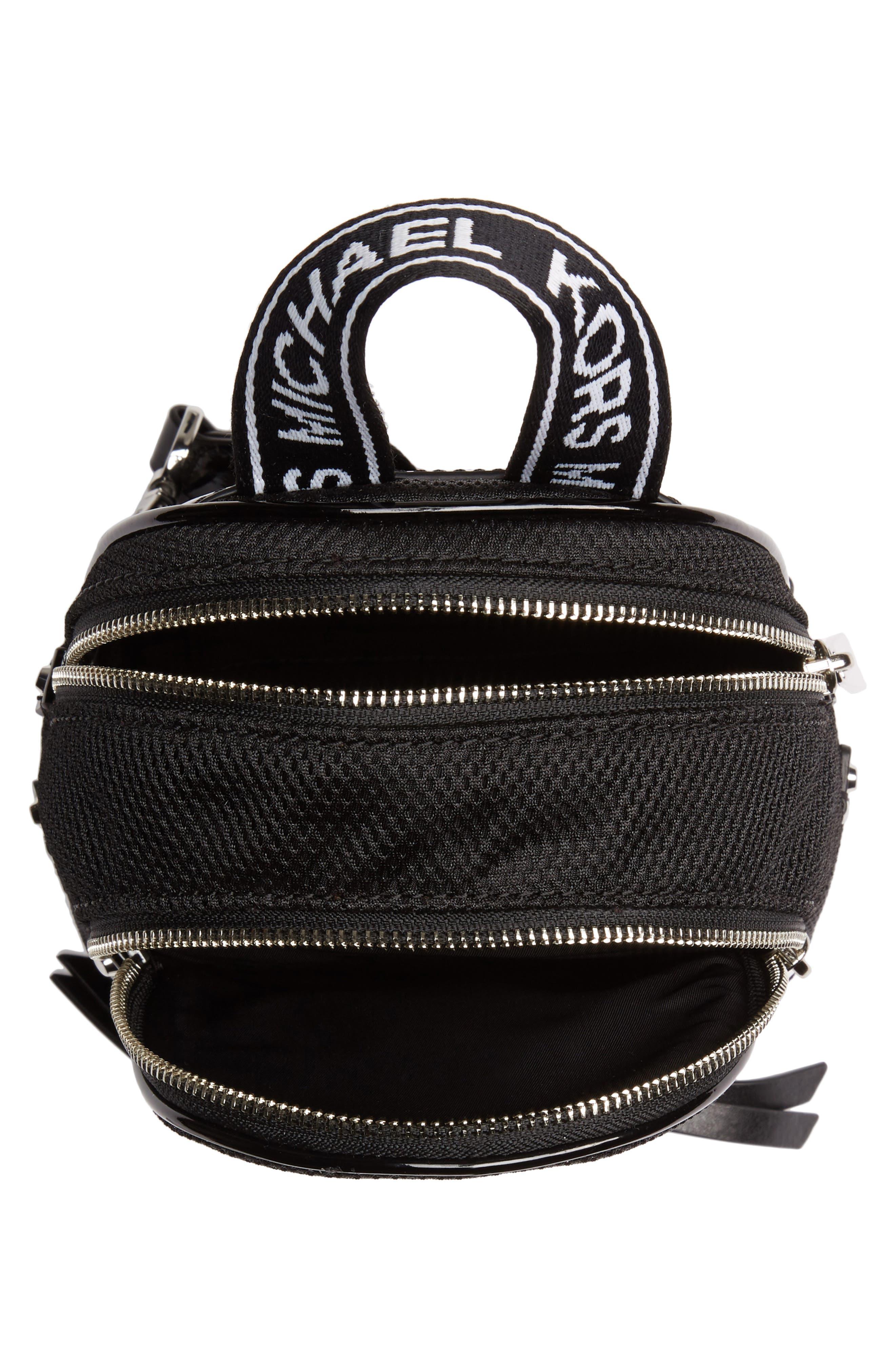 MICHAEL MICHAEL KORS, Extra Small Rhea Mesh Backpack, Alternate thumbnail 6, color, BLACK/ OPTIC WHITE