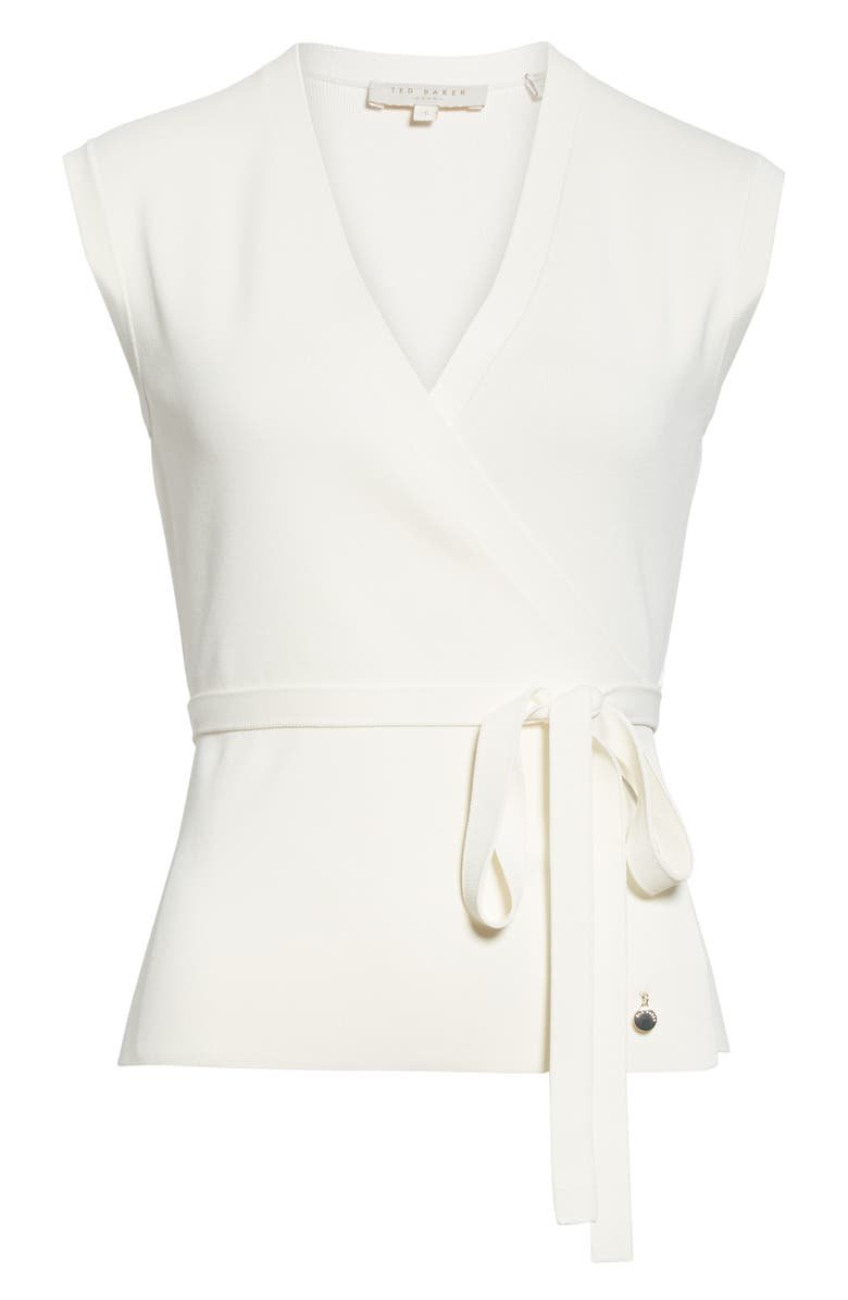Ted Baker Linor Faux Wrap Sweater In Ivory