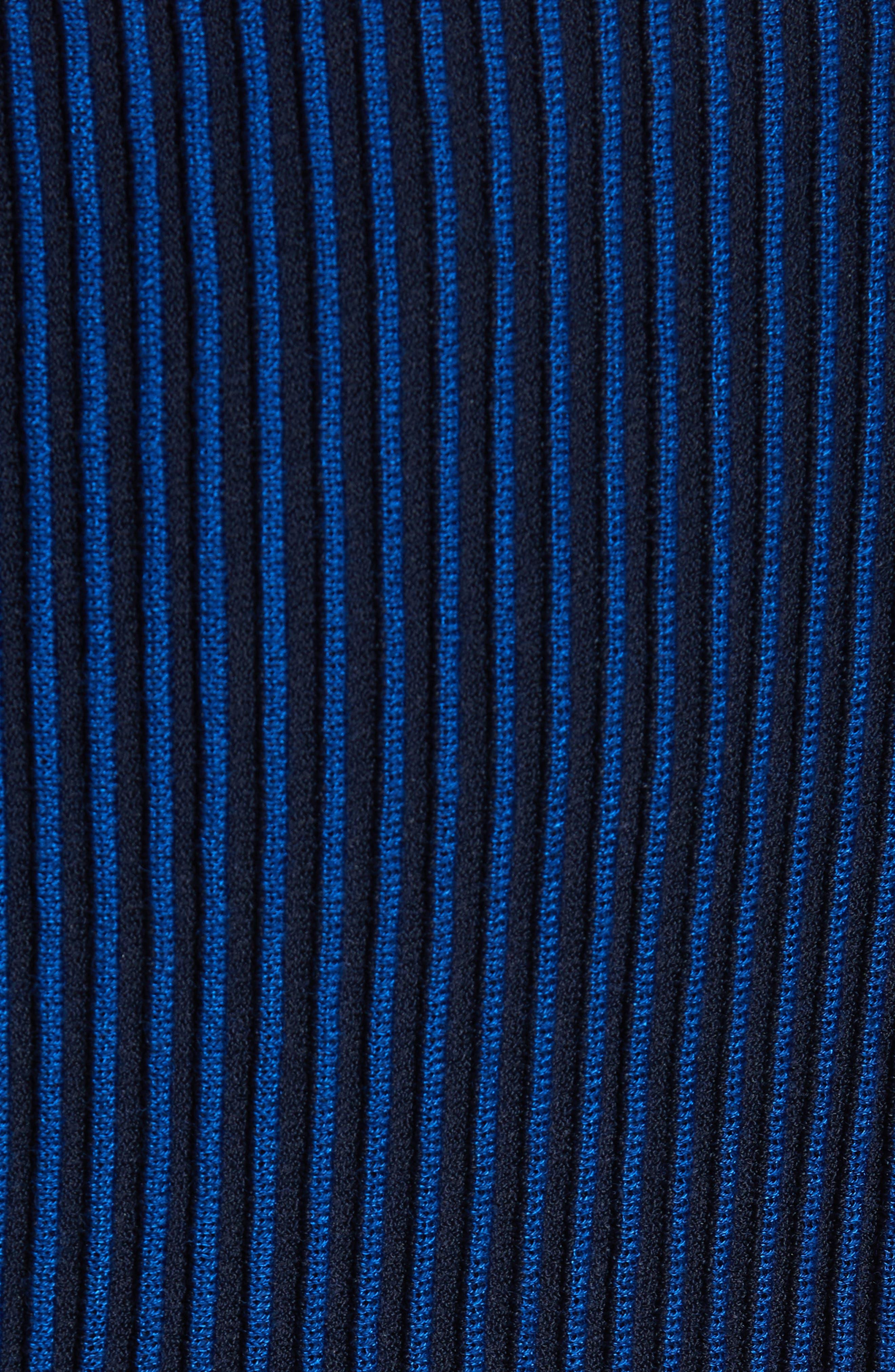 ST. JOHN COLLECTION, Ottoman Fit & Flare Sweater Dress, Alternate thumbnail 6, color, AZUL/ NAVY MULTI
