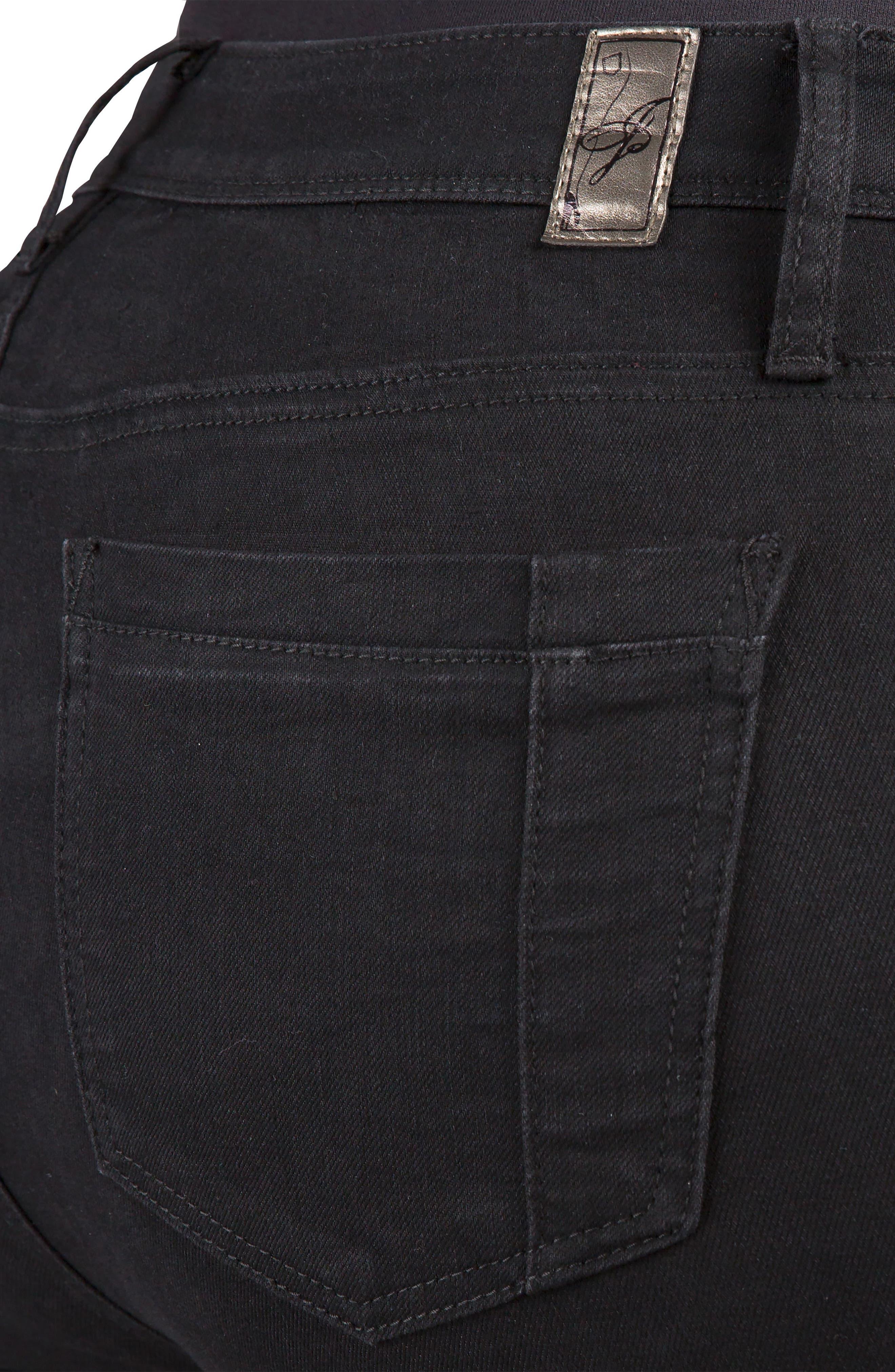 POETIC JUSTICE, Scarlett Slim Bootcut Curvy Fit Jeans, Alternate thumbnail 4, color, RINSE BLACK