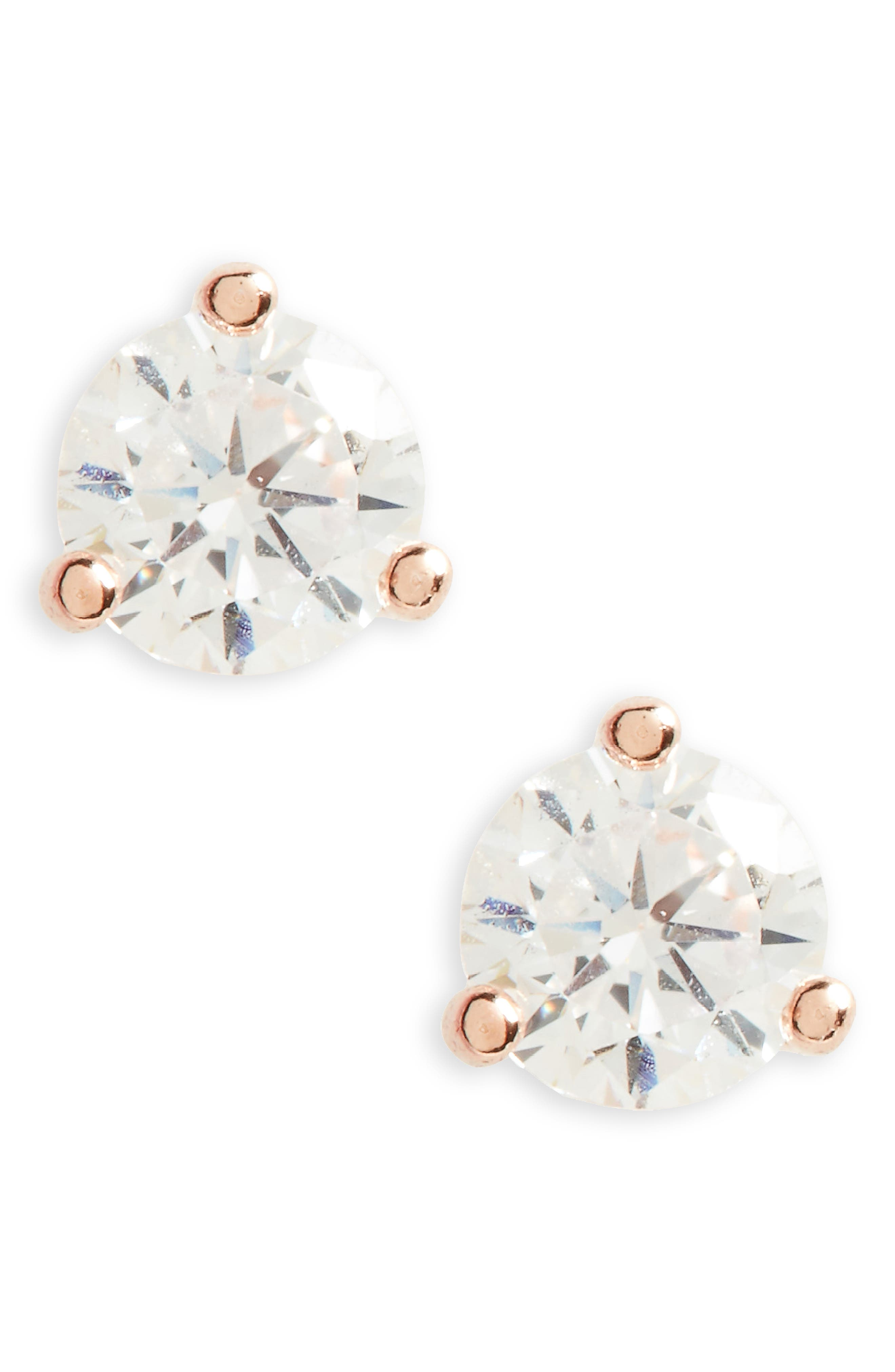 NORDSTROM, 0.25ct tw Cubic Zirconia Stud Earrings, Main thumbnail 1, color, CLEAR- ROSE GOLD