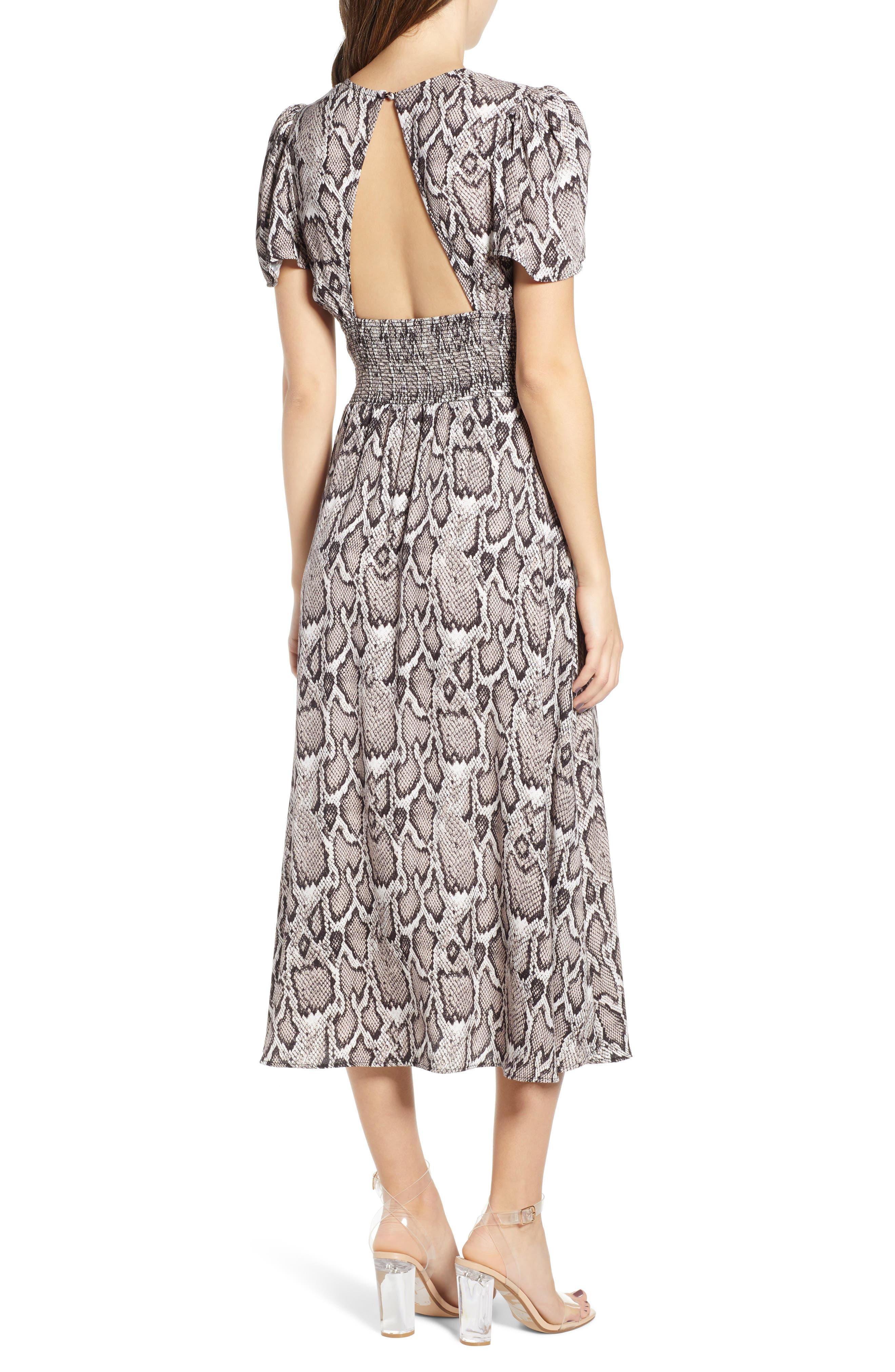 AFRM, Lala Midi Dress, Alternate thumbnail 2, color, SNAKESKIN