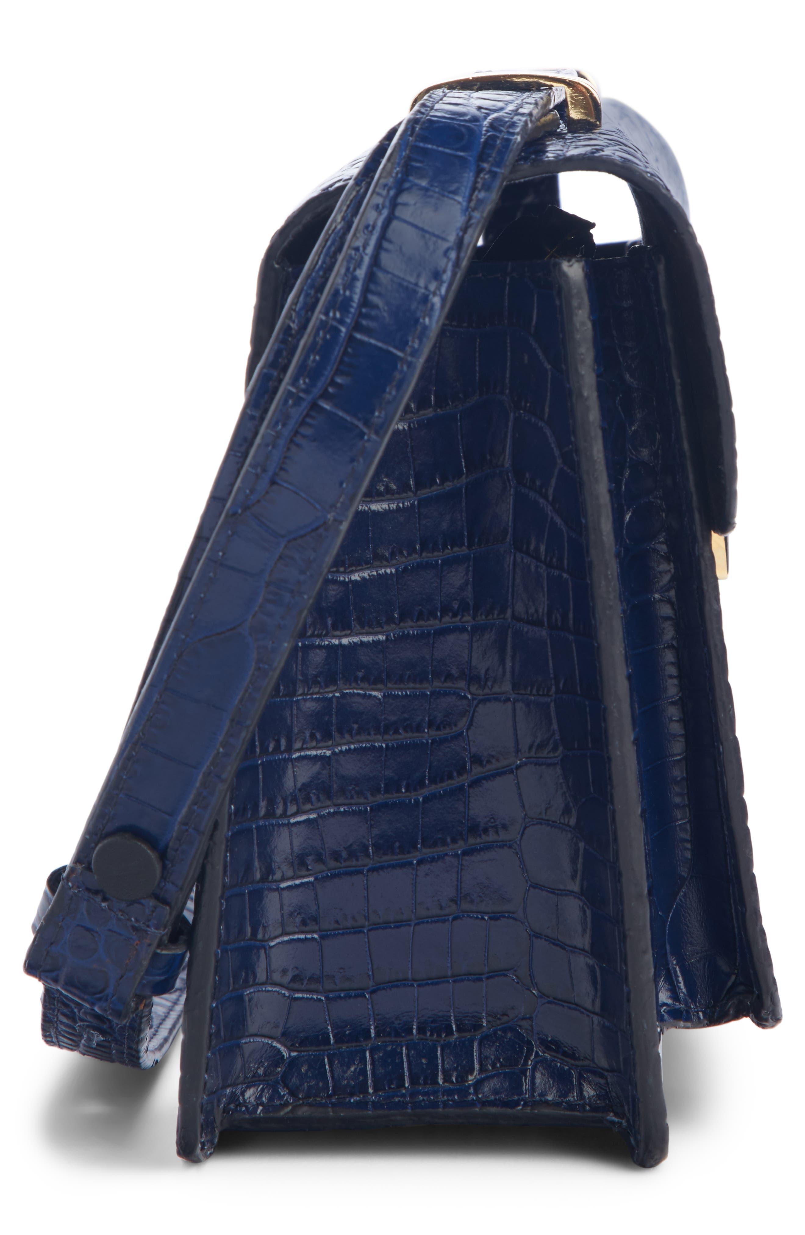 DRIES VAN NOTEN, Croc Embossed Leather Crossbody Bag, Alternate thumbnail 3, color, BLUE