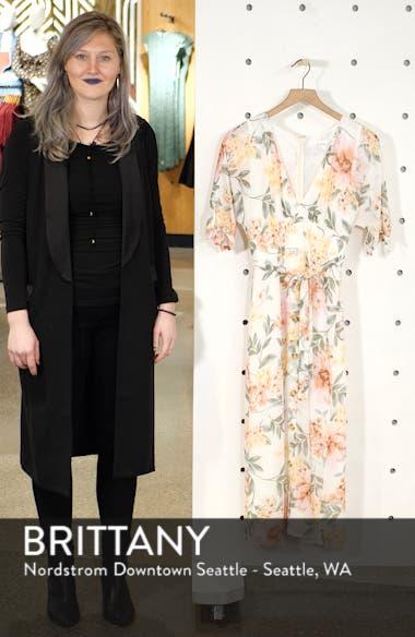 Floral V-Neck Tie Front Dress, sales video thumbnail
