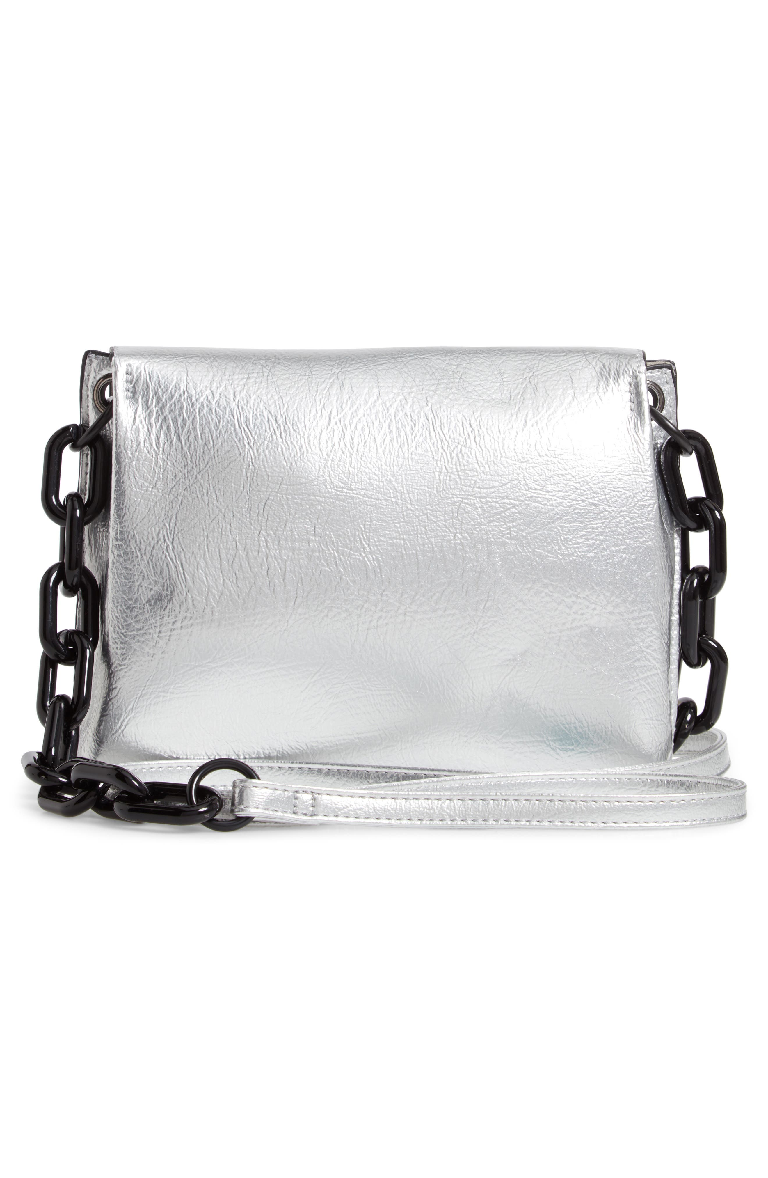 VIOLET RAY NEW YORK, Metallic Faux Leather Crossbody Bag, Alternate thumbnail 4, color, SILVER