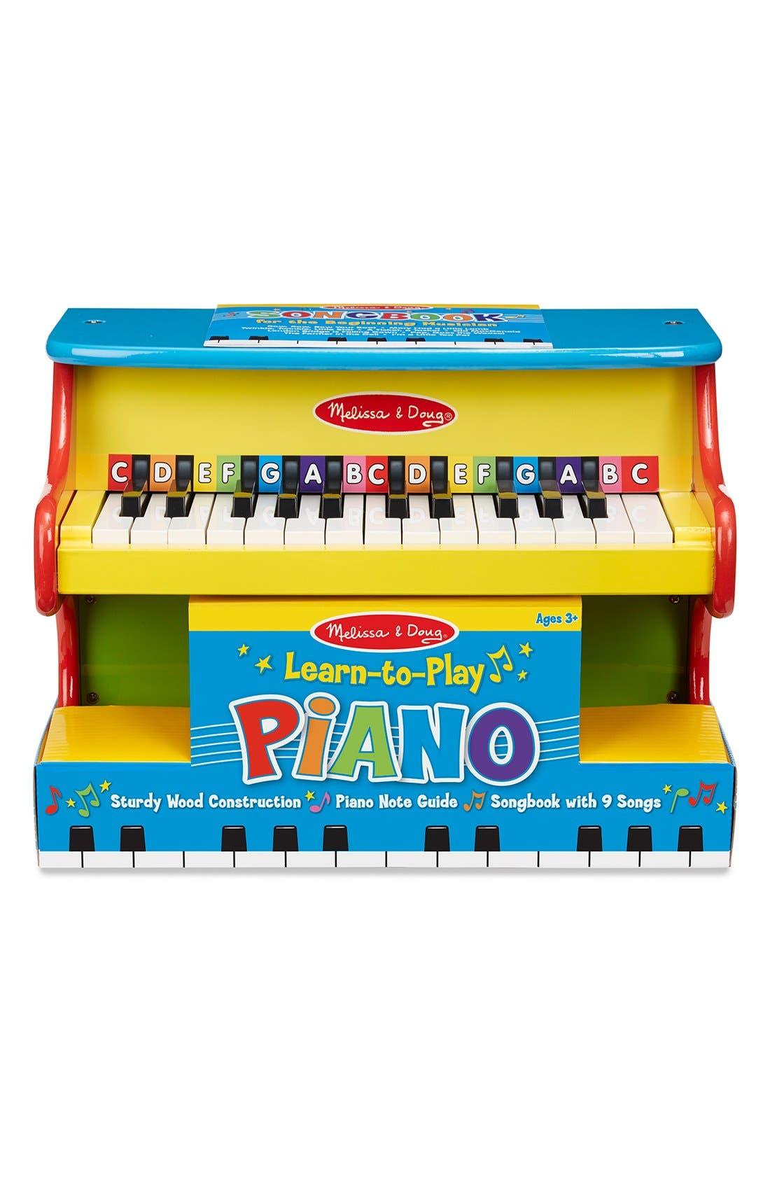 MELISSA & DOUG 'Learn-to-Play' Piano, Main, color, YELLOW