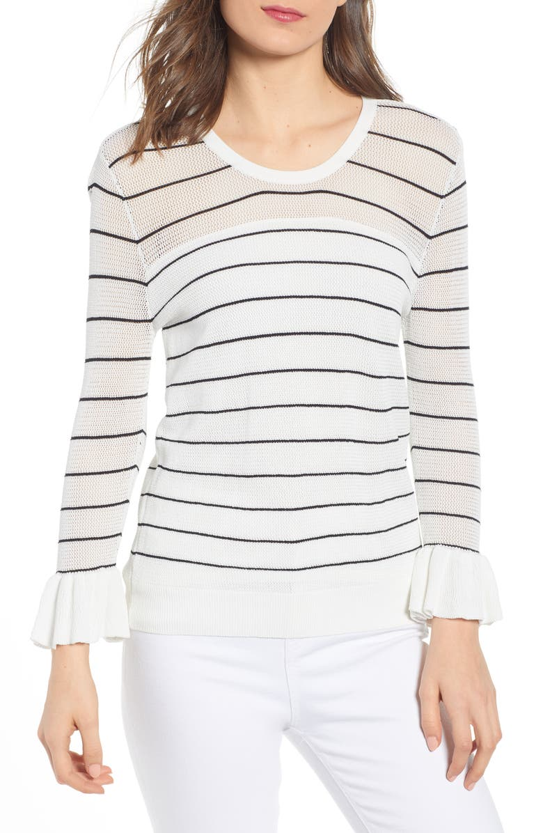 Cupcakes And Cashmere Sweaters STRIPE RUFFLE SLEEVE SWEATER