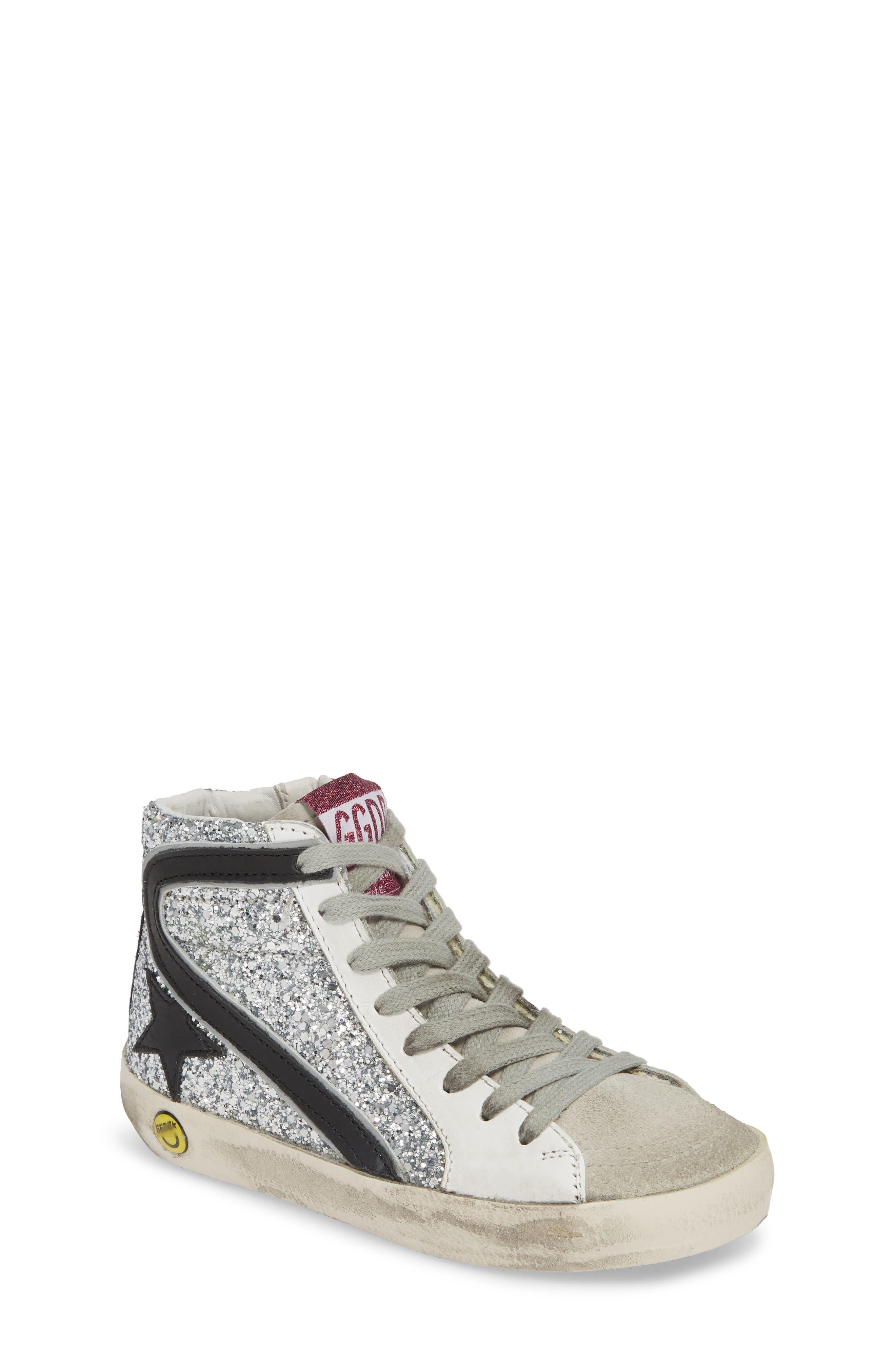 GOLDEN GOOSE, Slide Glitter High Top Sneaker, Main thumbnail 1, color, SILVER GLITTER/ BLACK SLIDE
