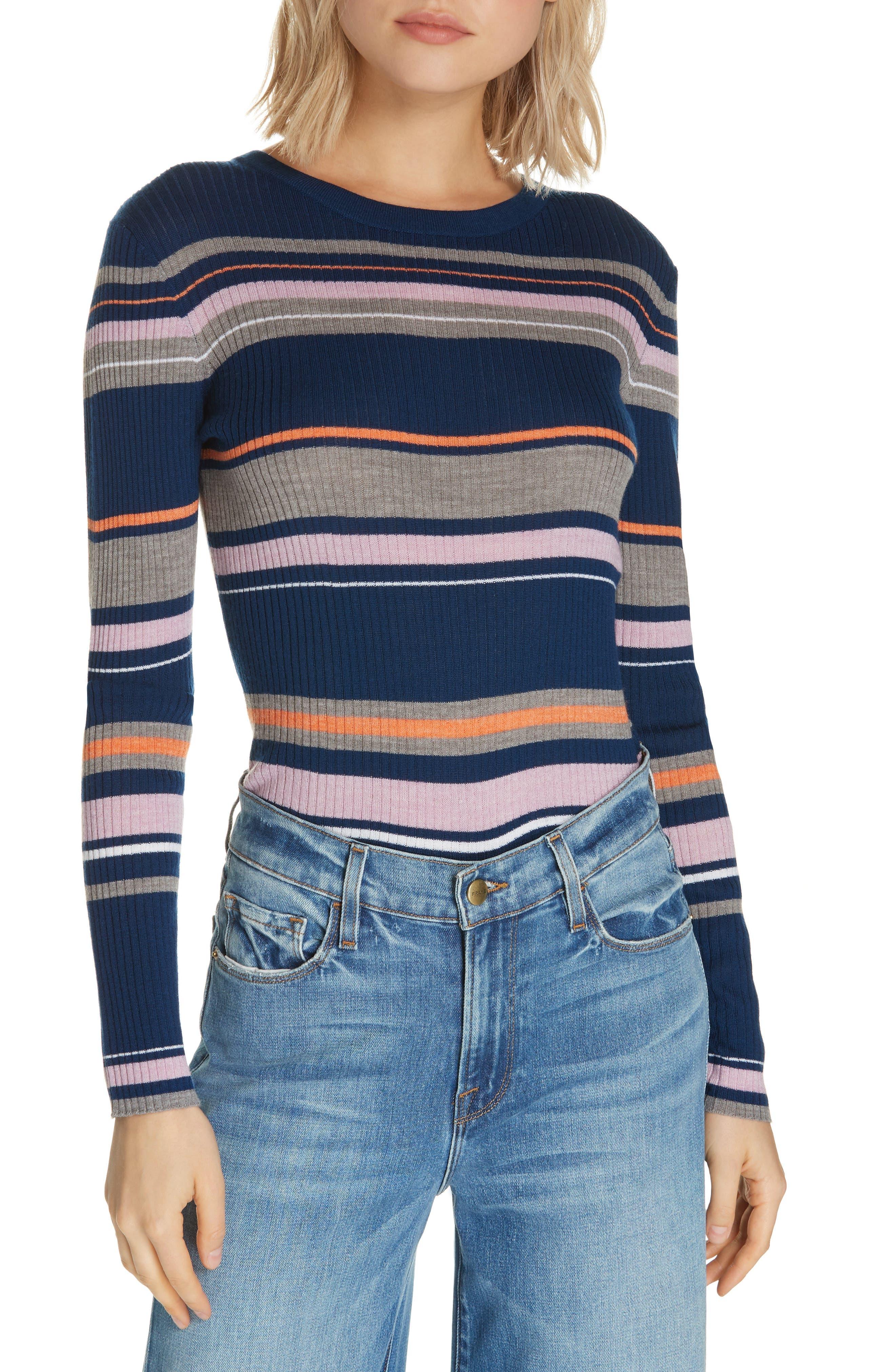 Frame Stripe Crewneck Merino Wool Blend Sweater, Purple