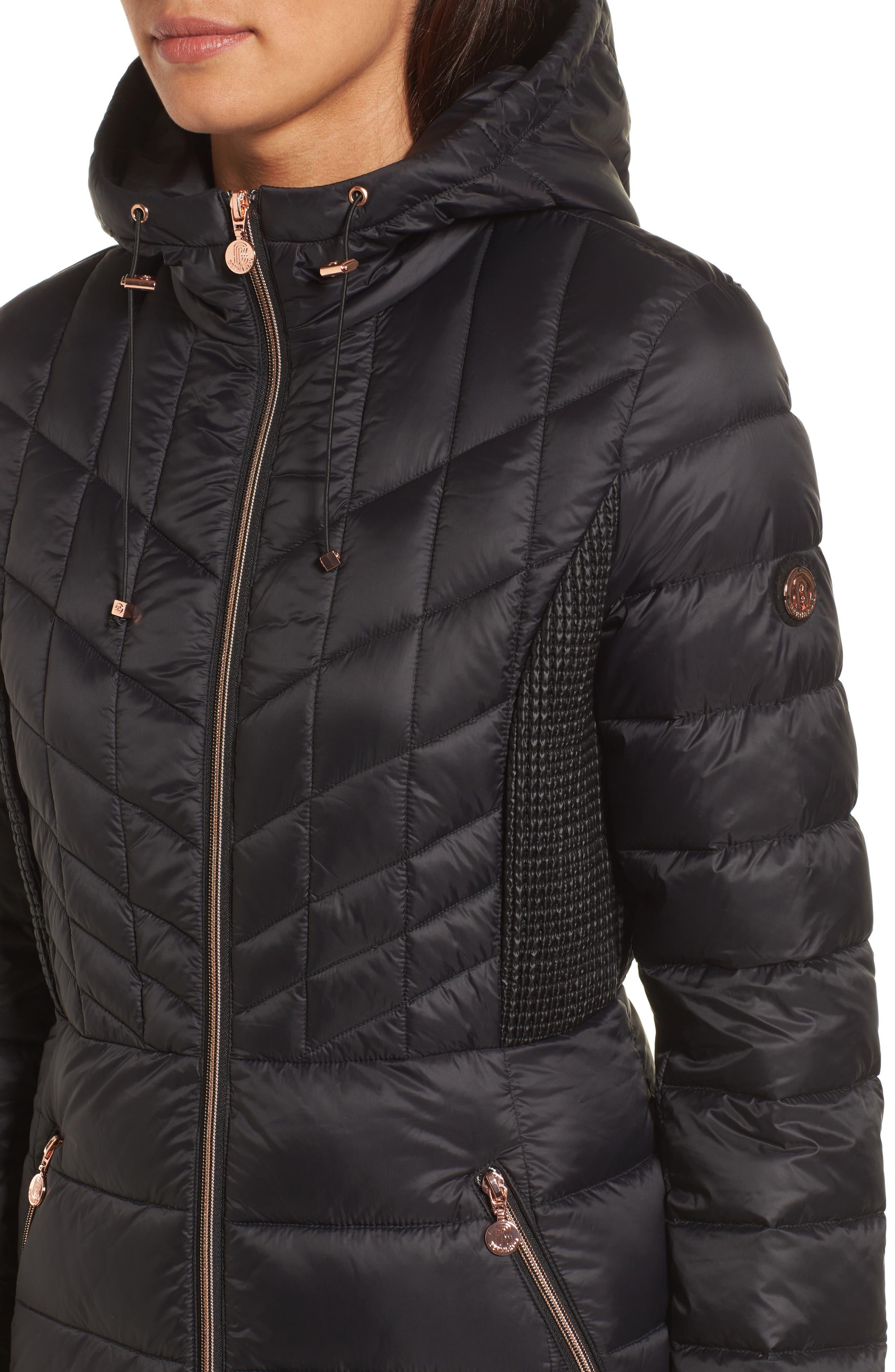 BERNARDO, Hooded Packable Down & PrimaLoft<sup>®</sup> Coat, Alternate thumbnail 5, color, BLACK