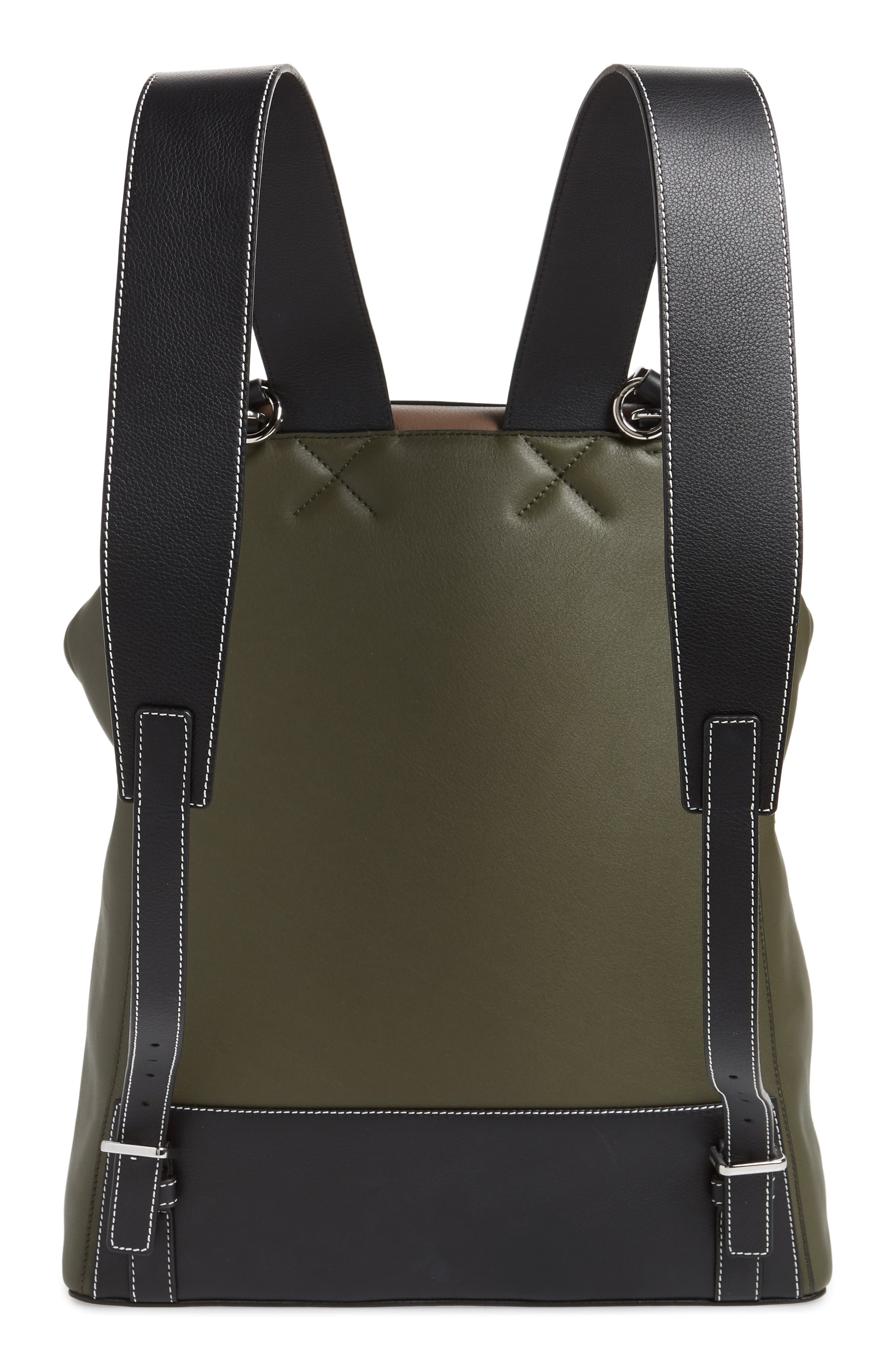 LOEWE, Goya Backpack, Alternate thumbnail 3, color, DARK TAUPE/ GREEN MILITARY