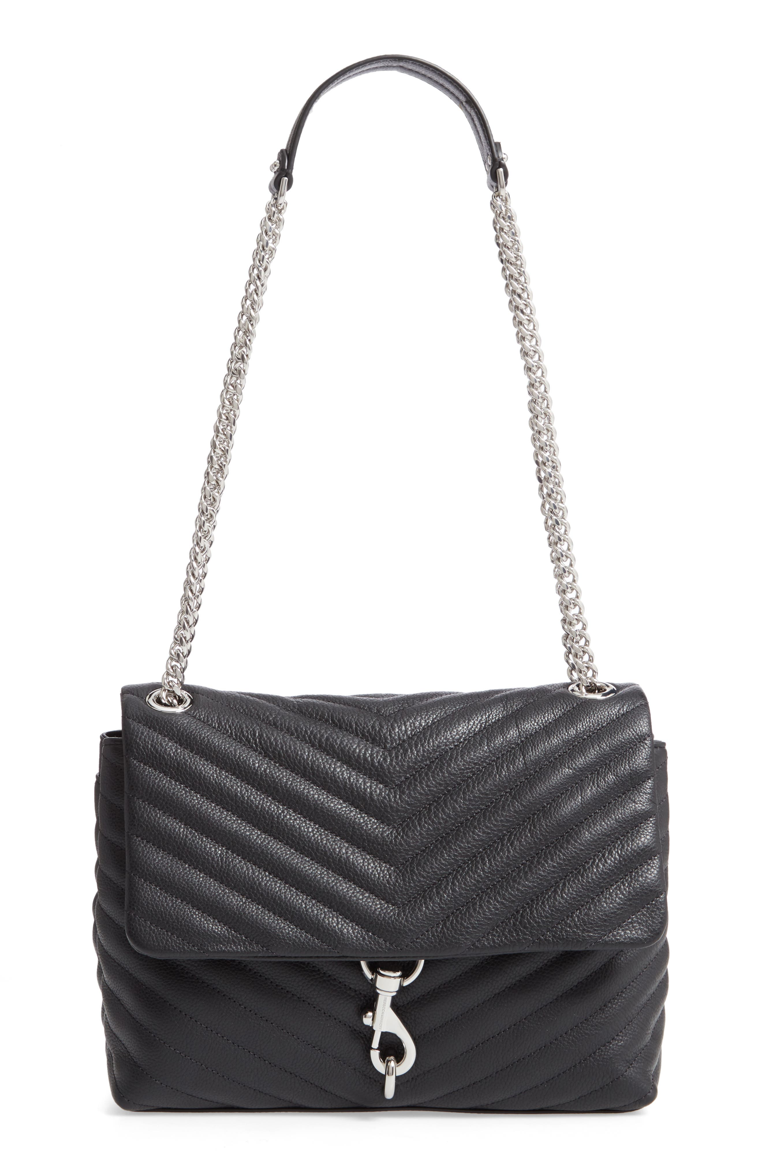 REBECCA MINKOFF, Edie Flap Quilted Leather Shoulder Bag, Main thumbnail 1, color, BLACK