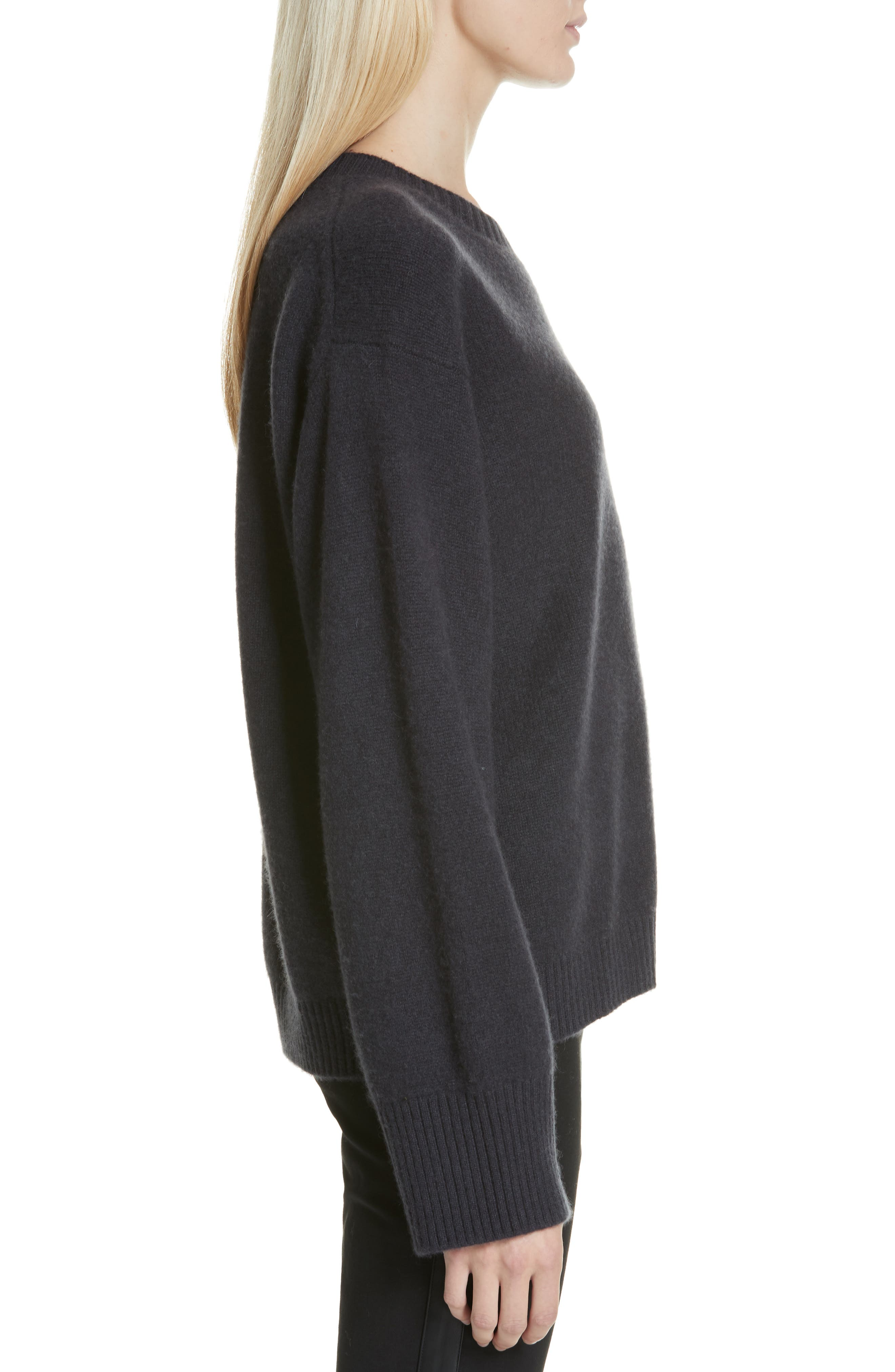 VINCE, Boxy Cashmere Sweater, Alternate thumbnail 3, color, OBSIDIAN