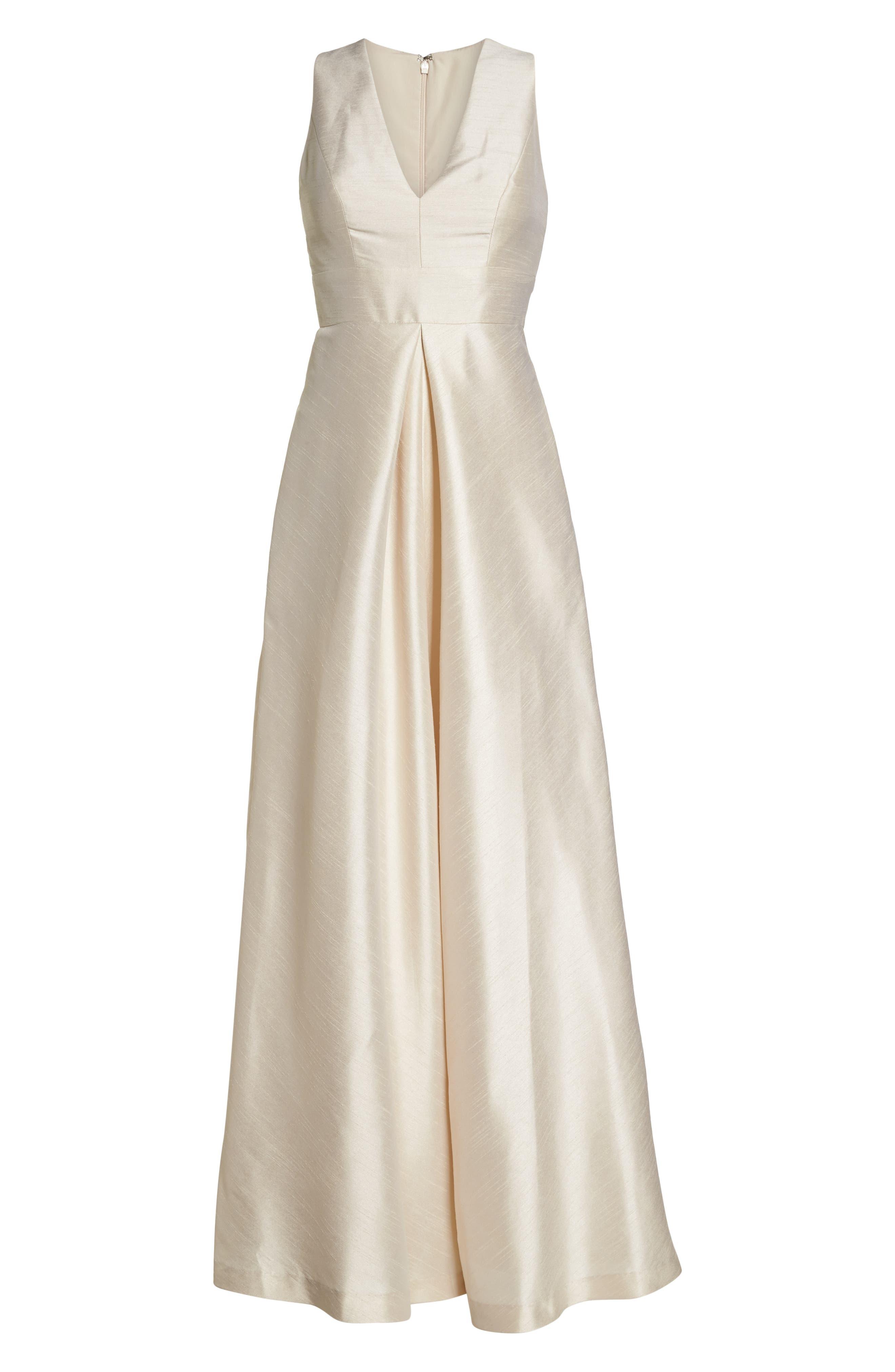 Alfred Sung V-Neck Dupioni Evening Gown, Beige