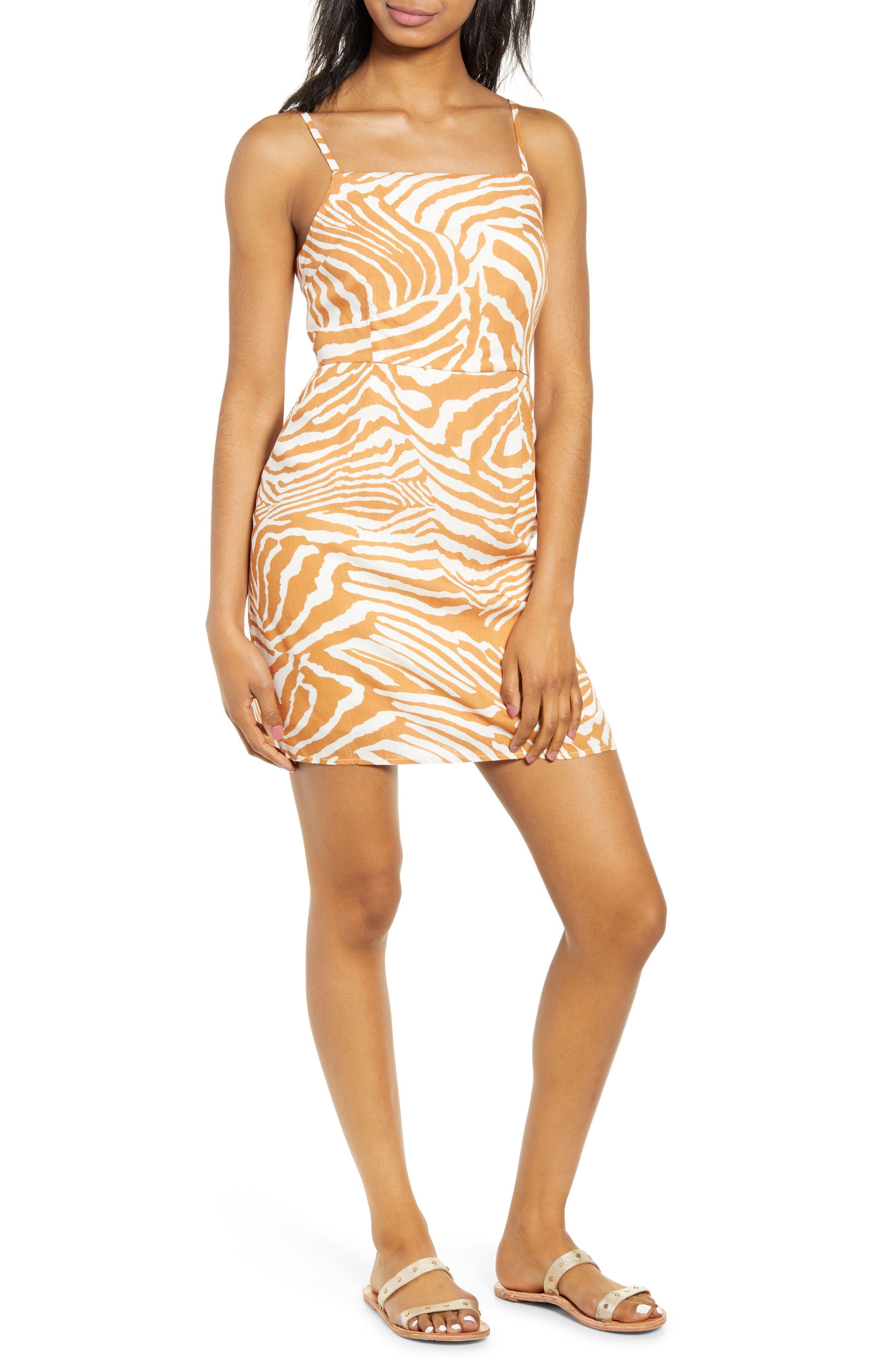 Minkpink Pretty Wild Zebra Print Minidress, Orange