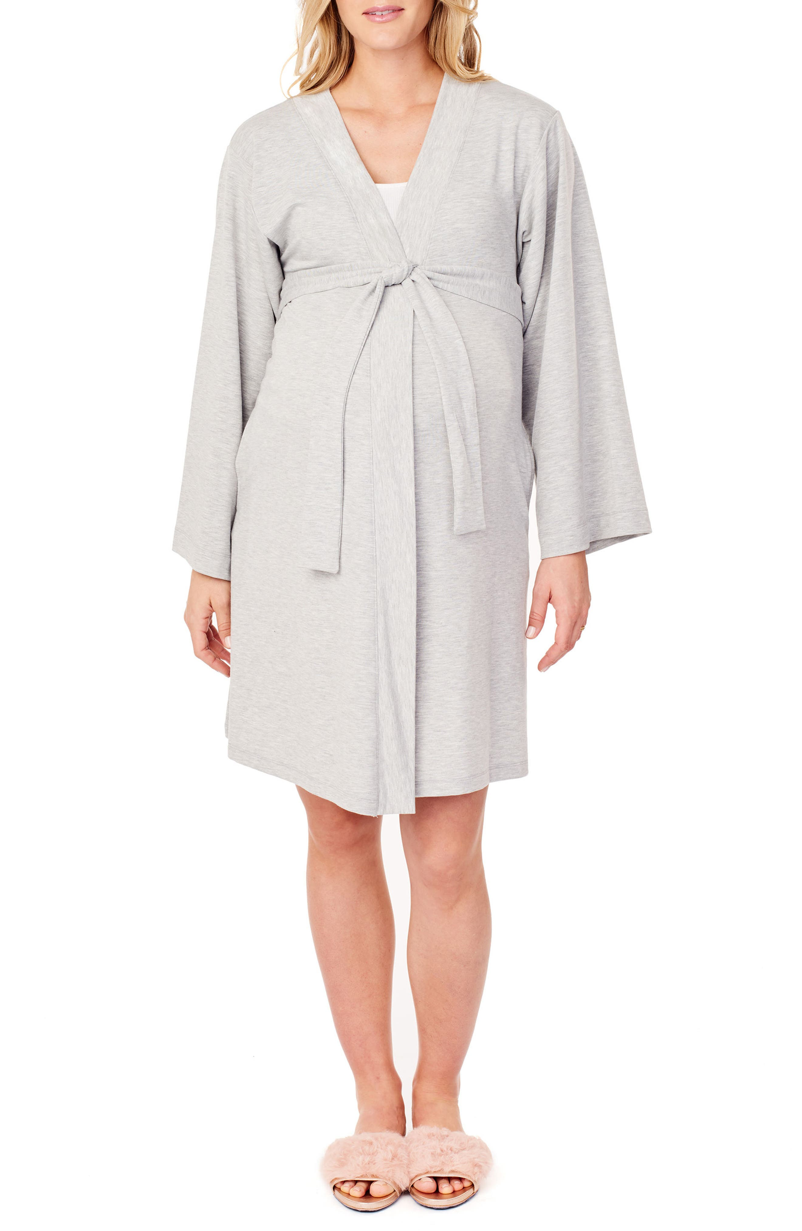 INGRID & ISABEL<SUP>®</SUP>, Kimono Lounge Maternity Robe, Main thumbnail 1, color, LIGHT HEATHER GREY