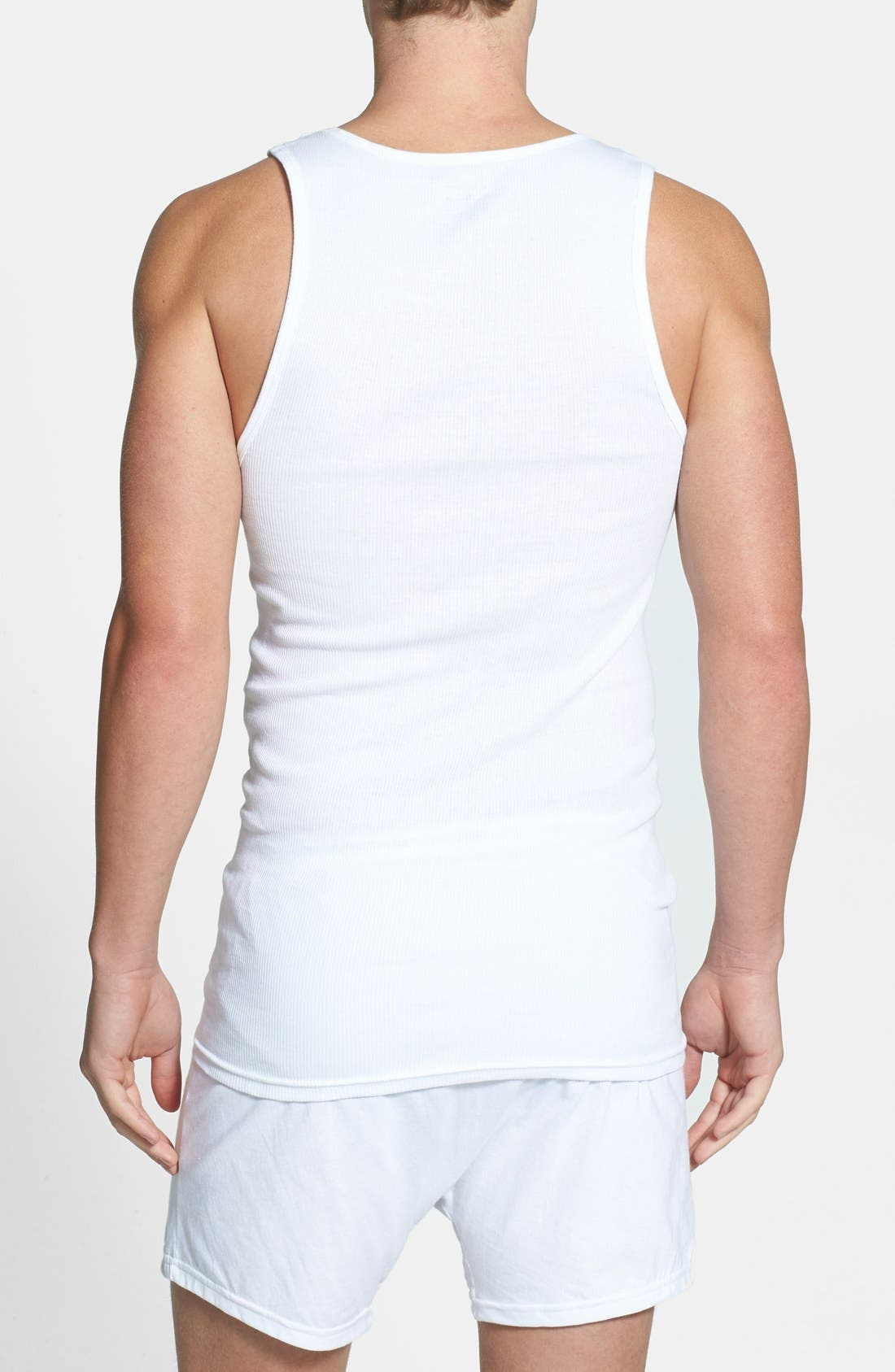 NORDSTROM MEN'S SHOP, 4-Pack Supima<sup>®</sup> Cotton Athletic Tanks, Alternate thumbnail 2, color, WHITE