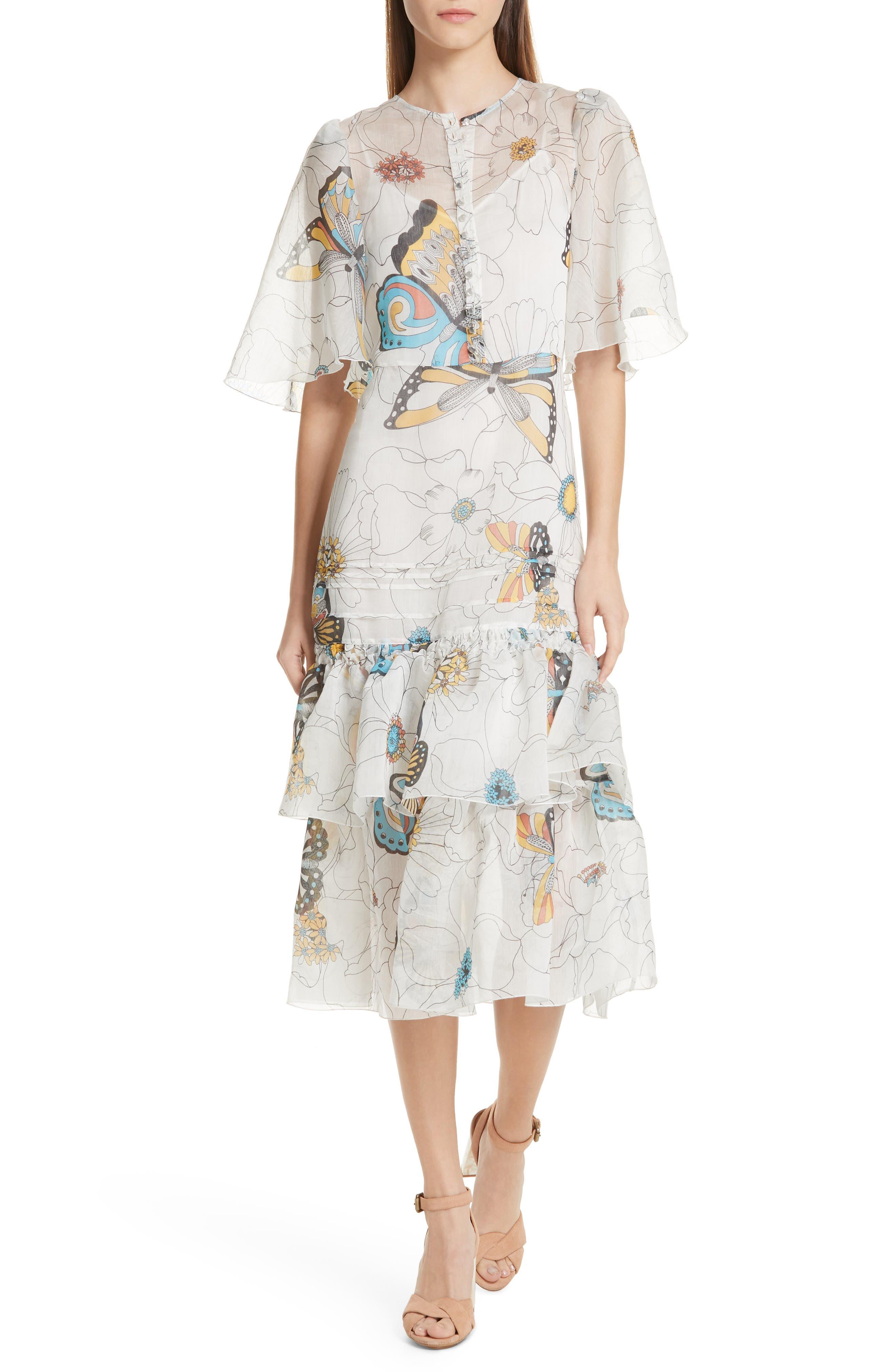 See By Chloe Butterfly Print Ruffle Trim Midi Dress, 4 FR - White