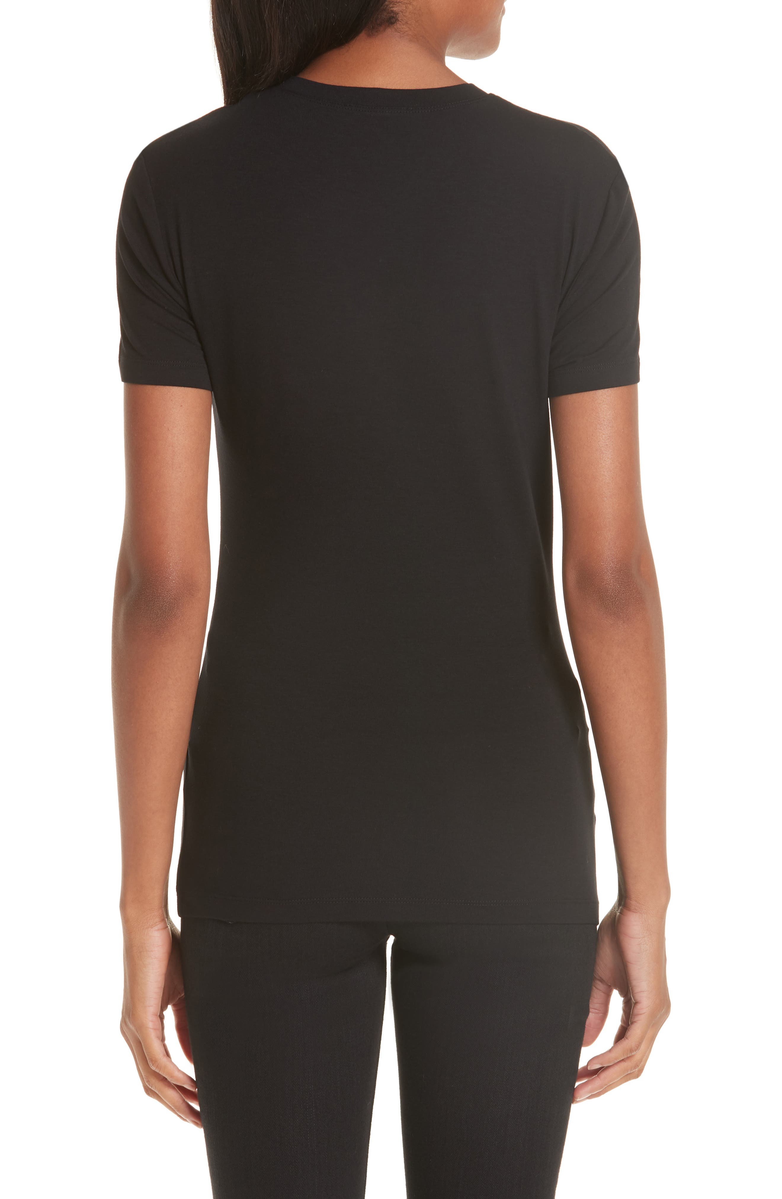 VERSACE COLLECTION, Medusa Crystal Embellished Jersey Tee, Alternate thumbnail 2, color, BLACK