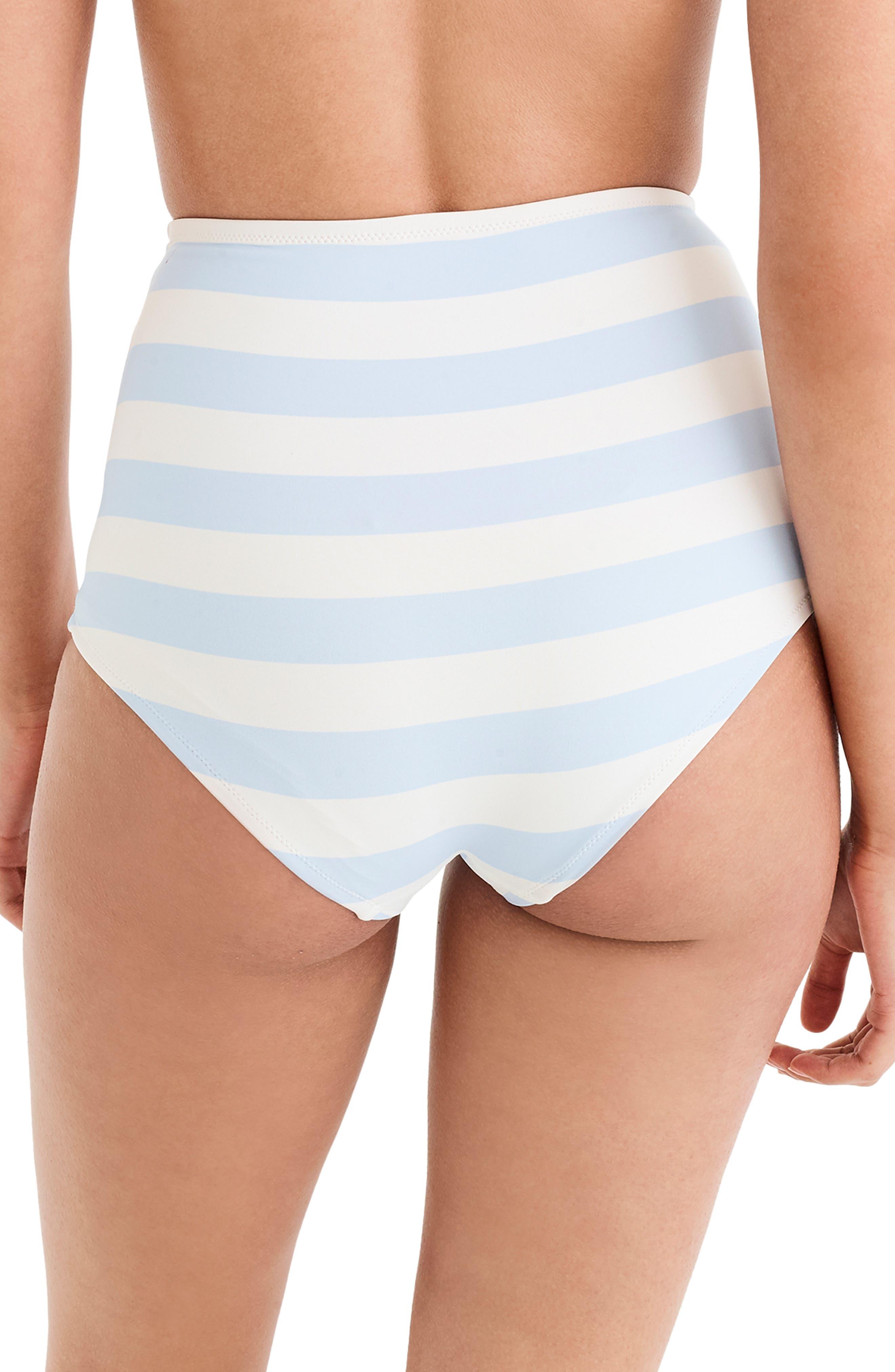 J.CREW, Stripe Seamless High Waist Bikini Bottoms, Alternate thumbnail 2, color, 400