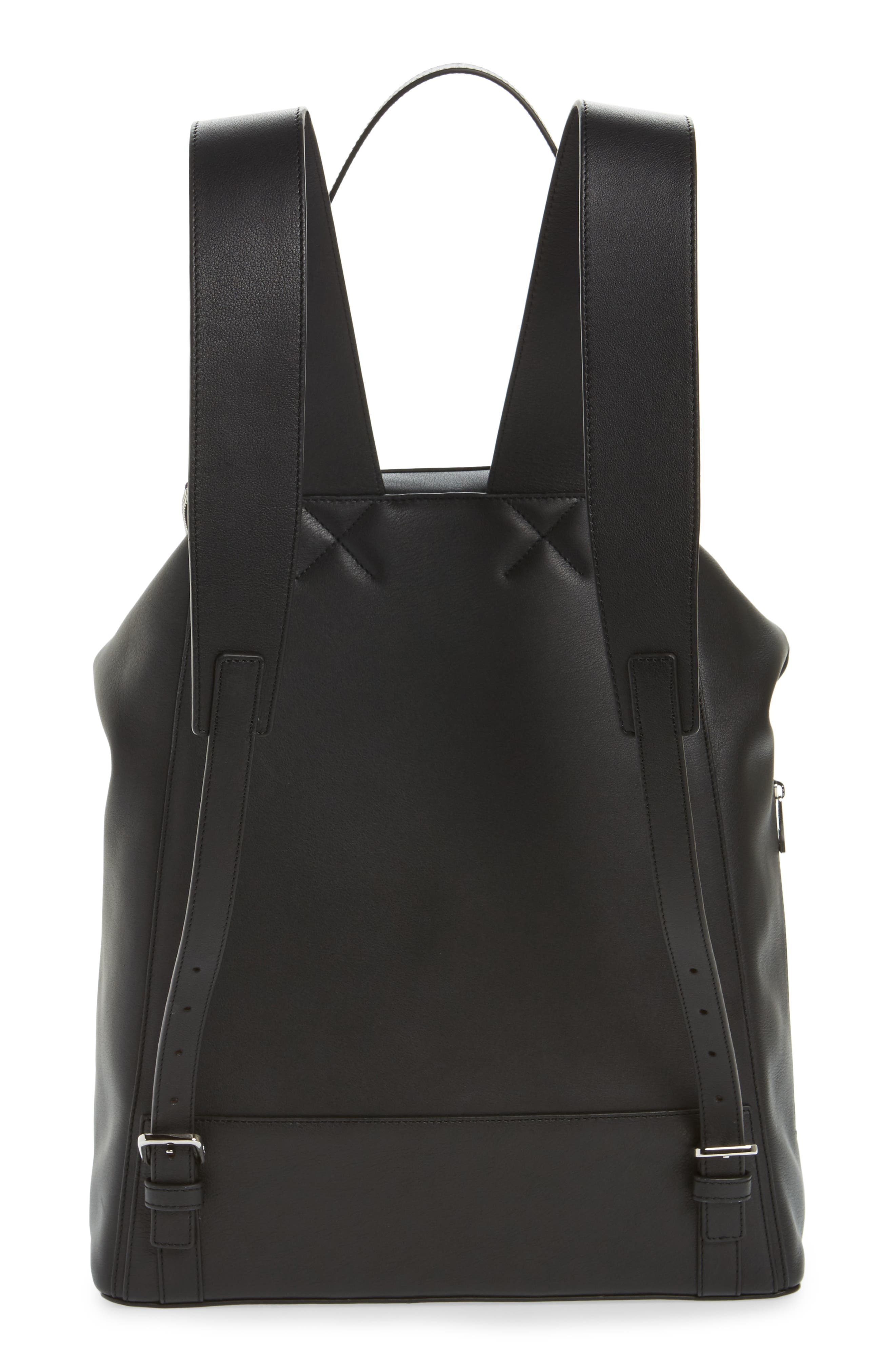LOEWE, Goya Leather Backpack, Alternate thumbnail 3, color, BLACK