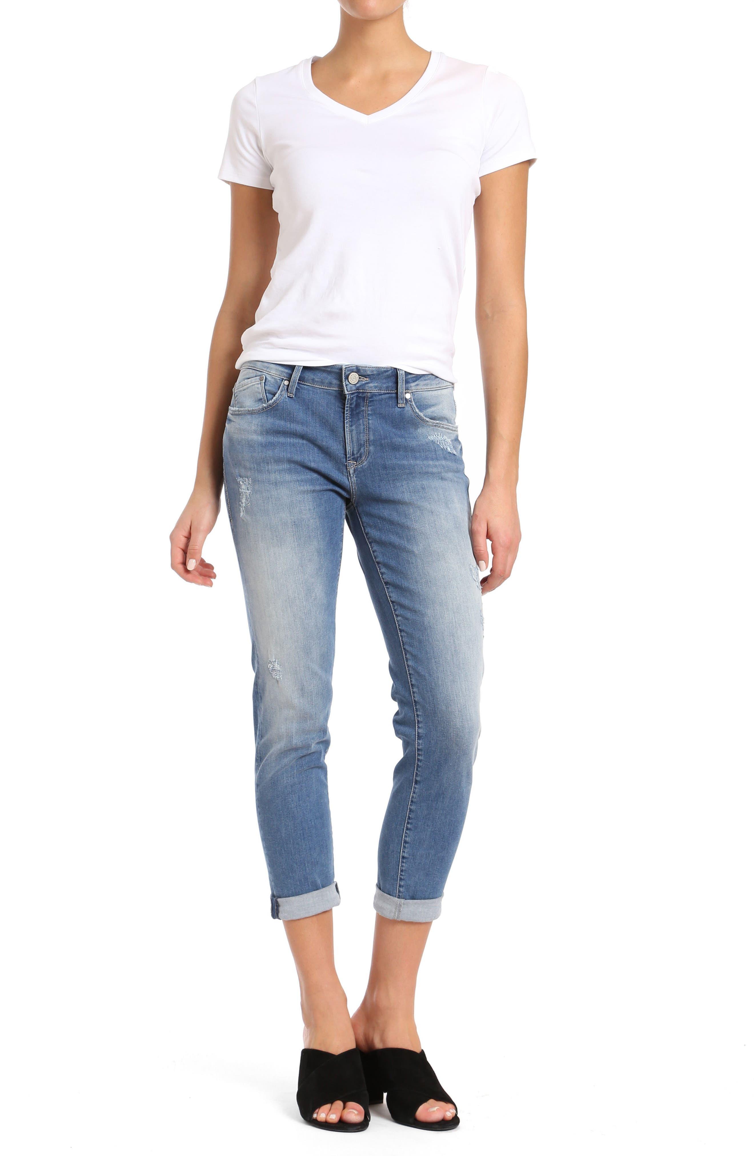 MAVI JEANS, Emma Slim Boyfriend Jeans, Alternate thumbnail 8, color, INDIGO RIPPED NOLITA
