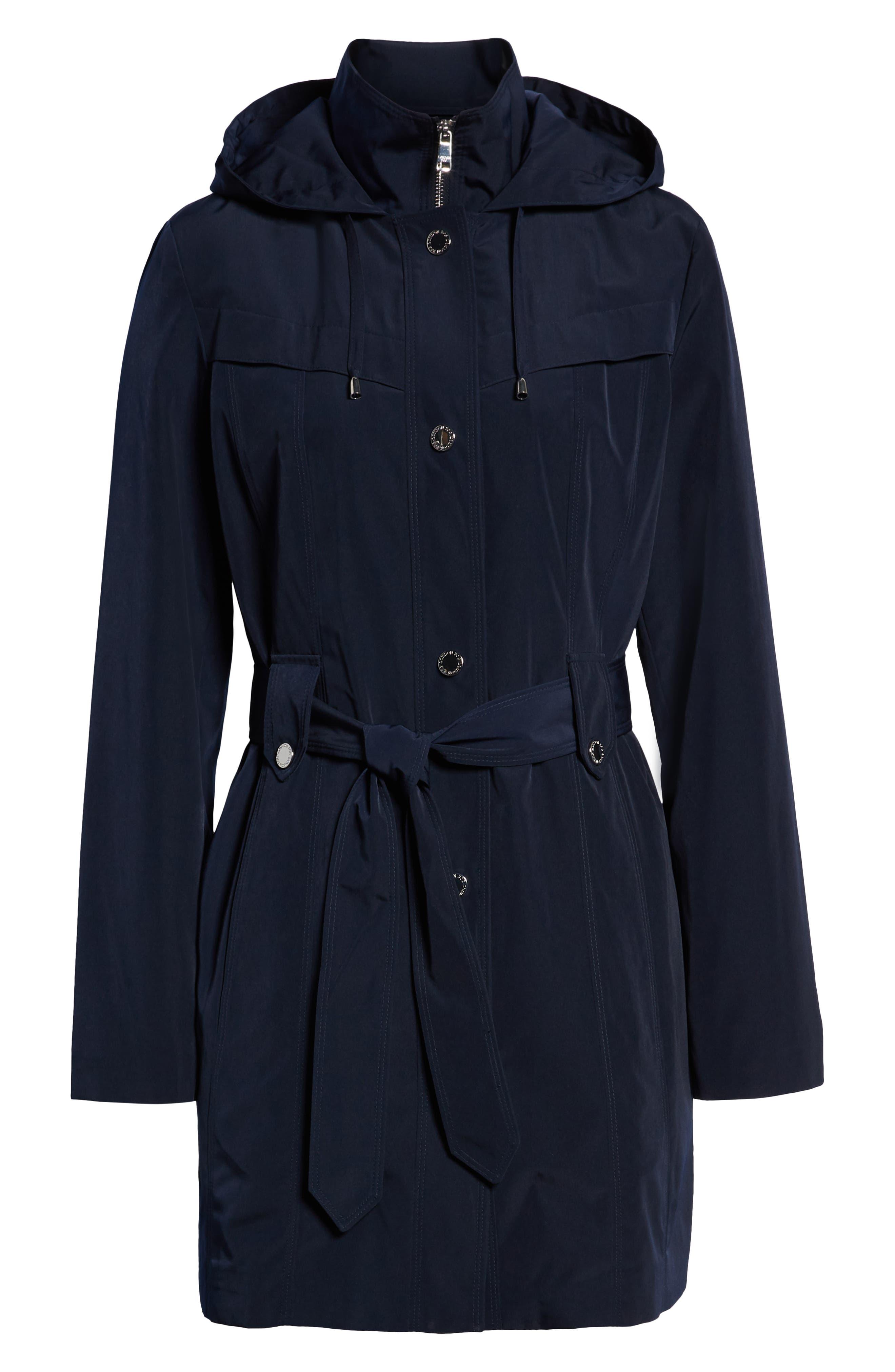 LONDON FOG, Hooded Trench Coat, Alternate thumbnail 6, color, NAVY
