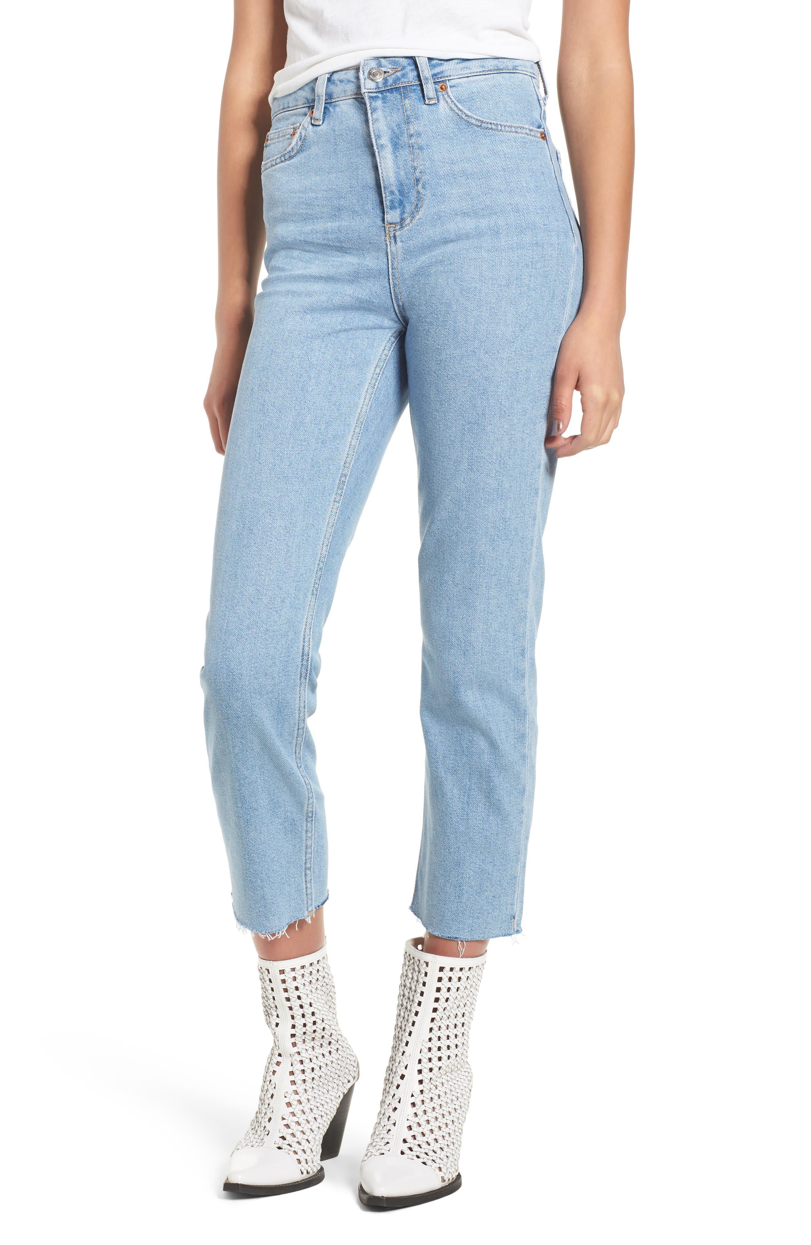 TOPSHOP Raw Hem Straight Leg Jeans, Main, color, BLEACH STONE DENIM