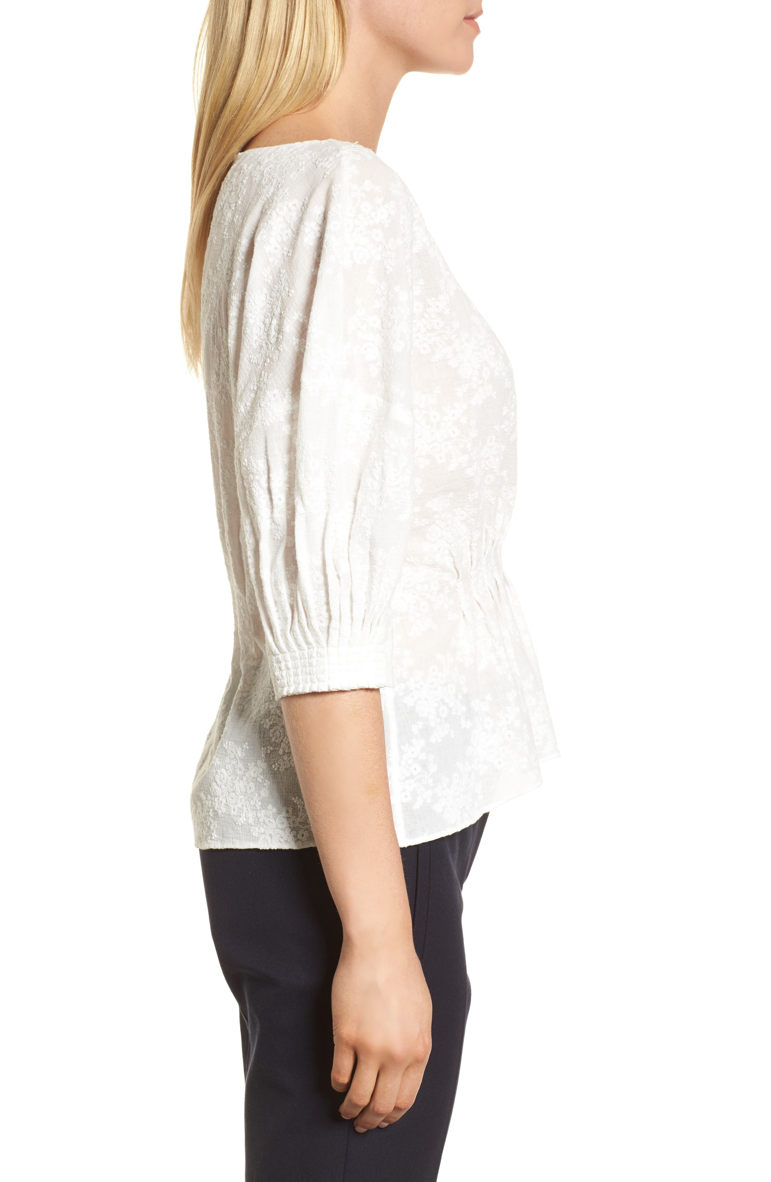 NORDSTROM SIGNATURE, Embroidered Tucked Top, Alternate thumbnail 3, color, 100