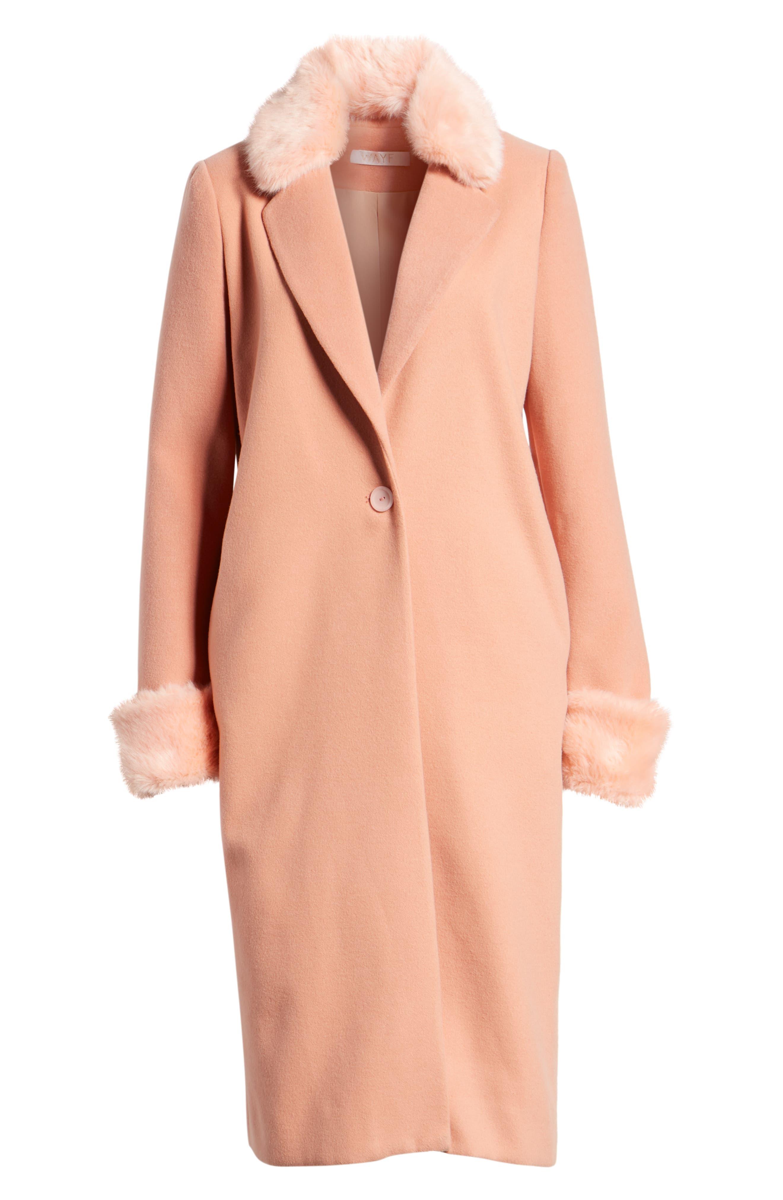 WAYF, Perry Faux Fur Trim Coat, Alternate thumbnail 6, color, 950