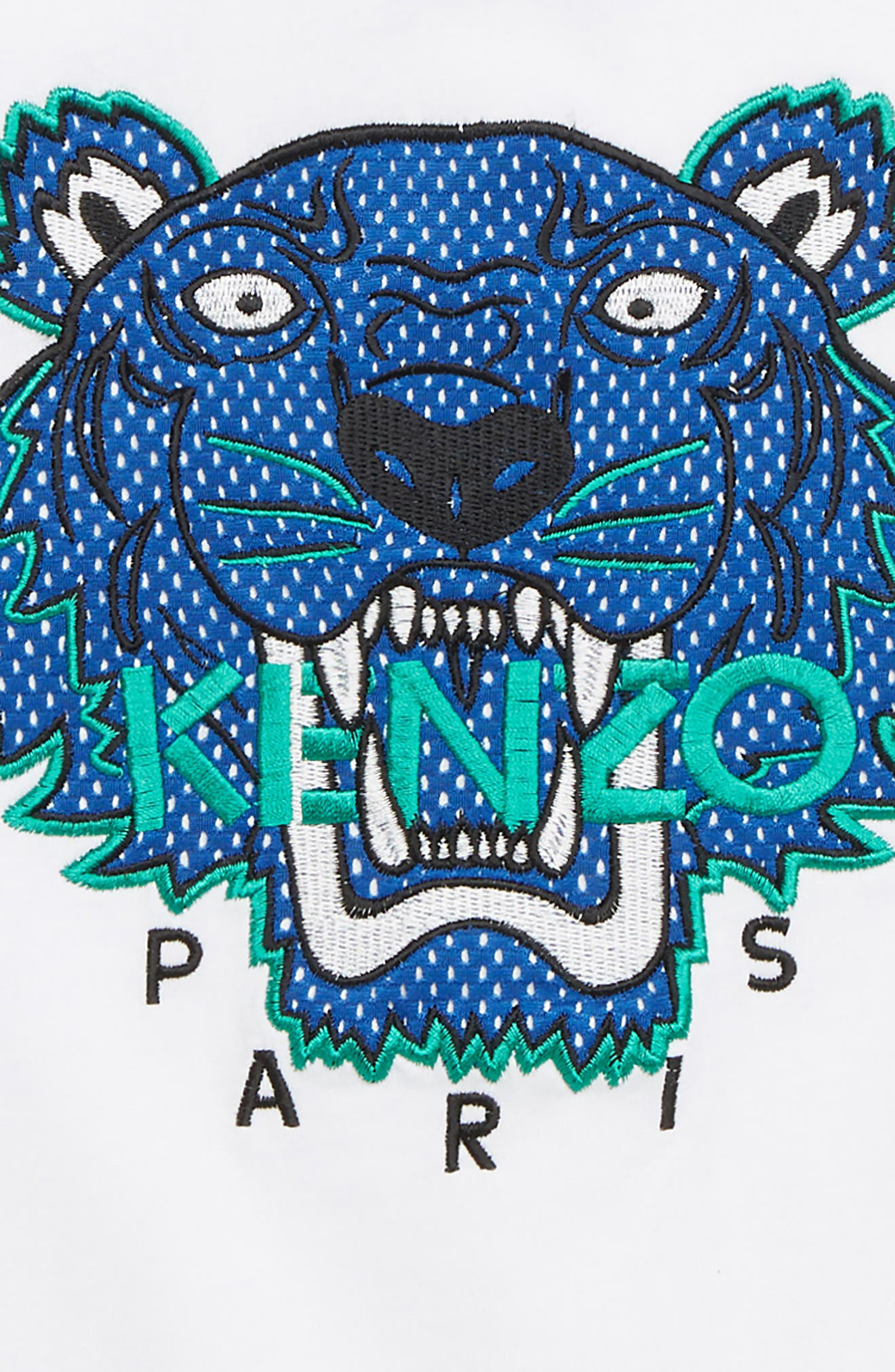 KENZO, Embroidered Tiger T-Shirt, Alternate thumbnail 3, color, WHITE