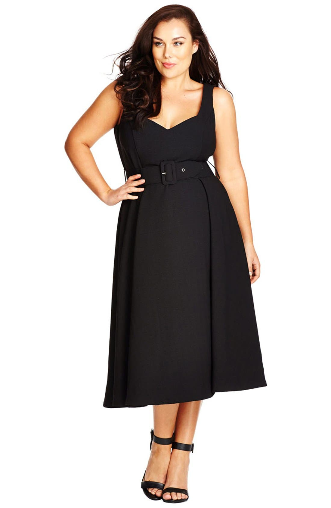 CITY CHIC Belted Sweetheart Neck Tea Length Dress, Main, color, BLACK