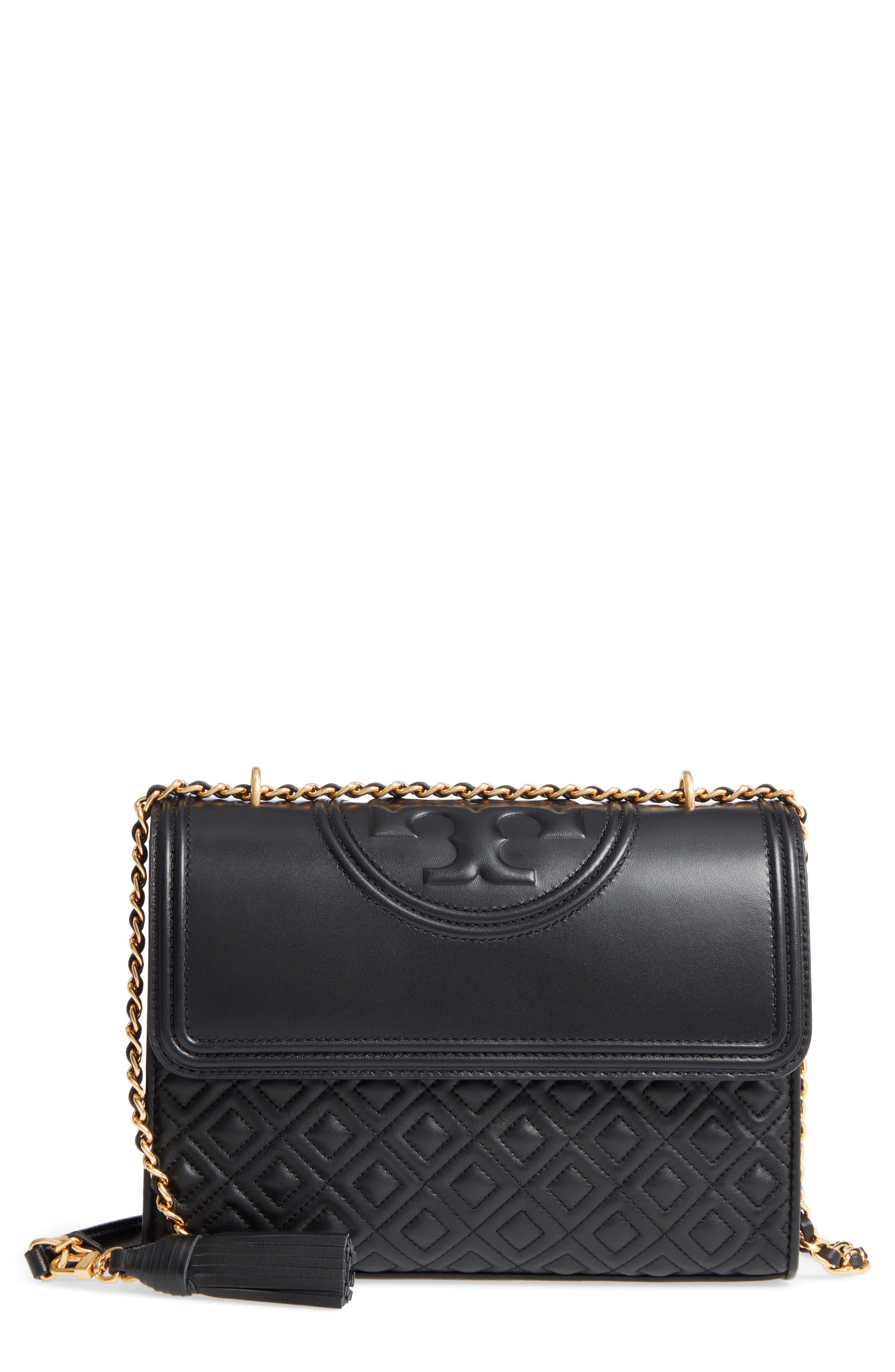 TORY BURCH, Fleming Leather Convertible Shoulder Bag, Main thumbnail 1, color, BLACK