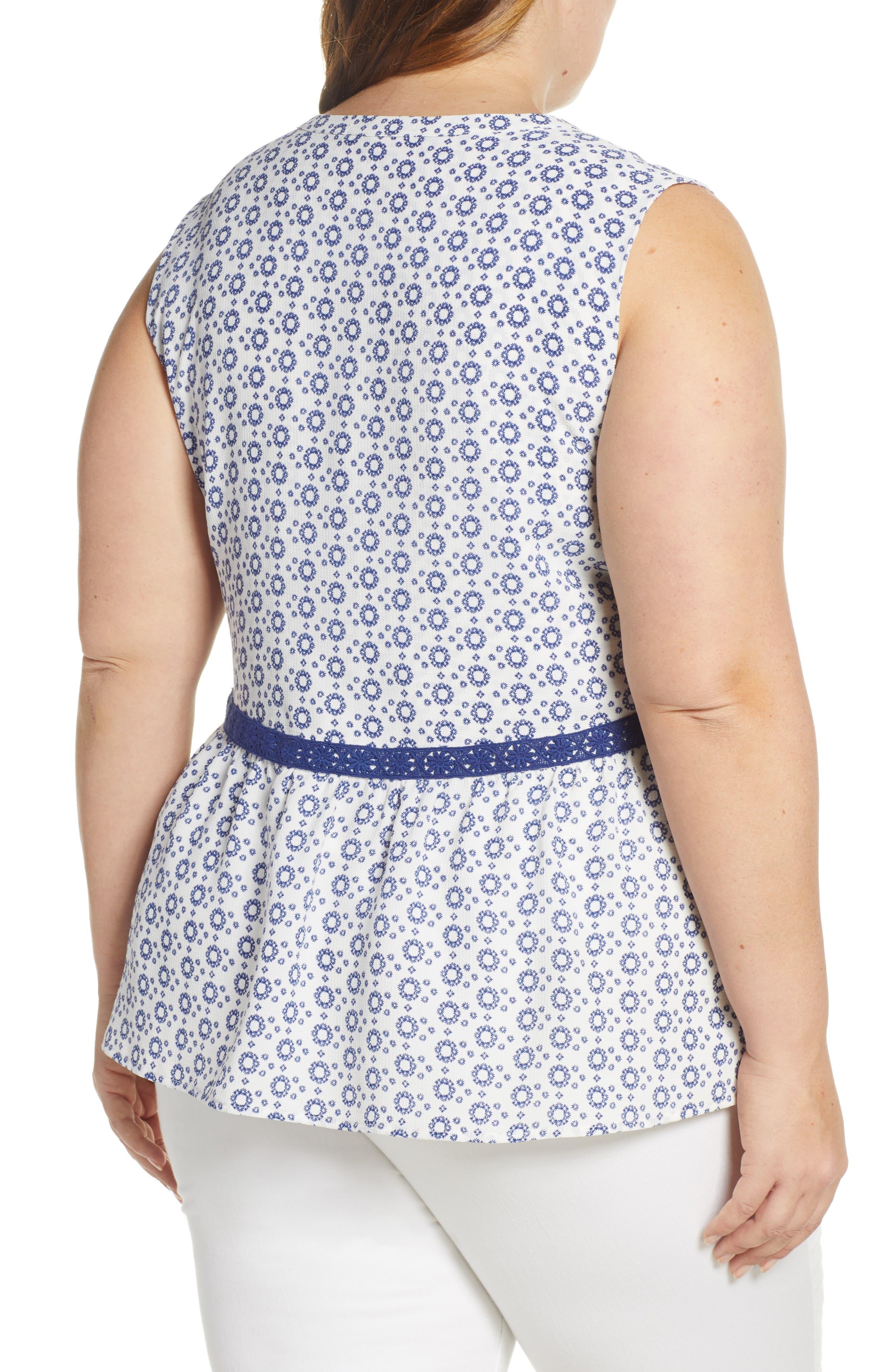GIBSON, x International Women's Day Lindsey Crochet Detail Babydoll Blouse, Alternate thumbnail 2, color, WHITE/ NAVY GEO