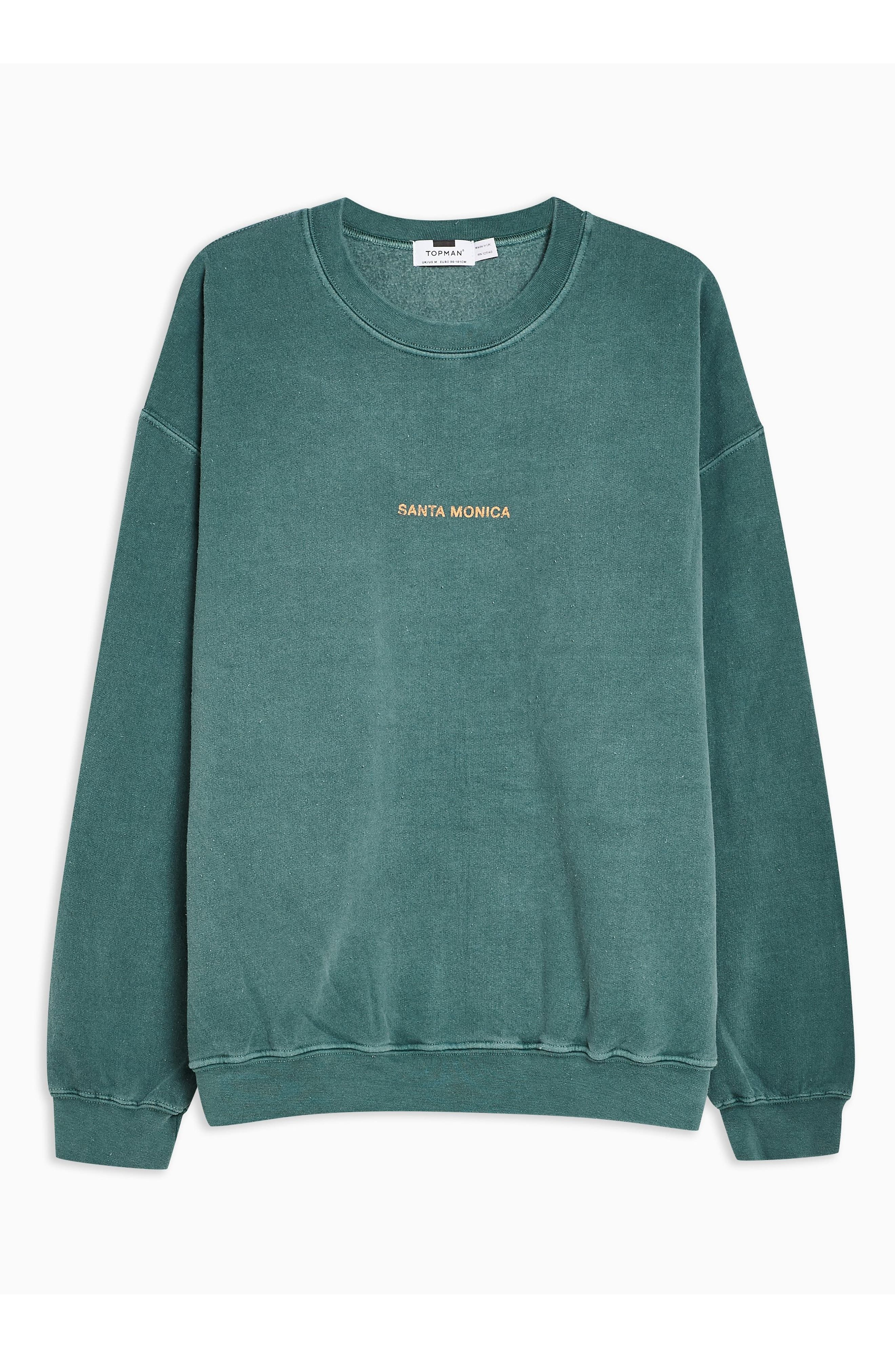 TOPMAN, Santa Monica Oversize Sweatshirt, Alternate thumbnail 3, color, GREEN