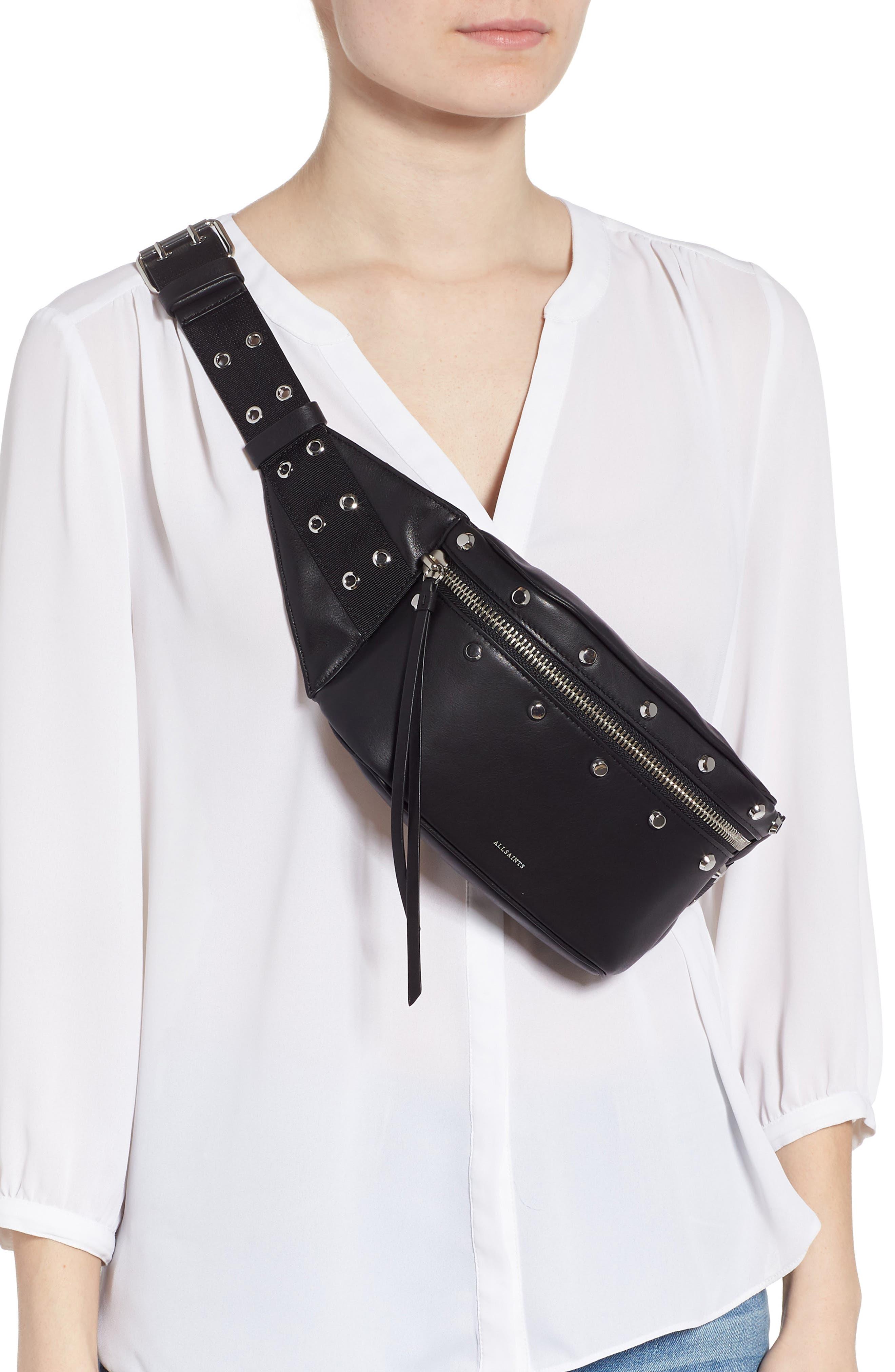 ALLSAINTS, Studded Leather Belt Bag, Alternate thumbnail 4, color, 001