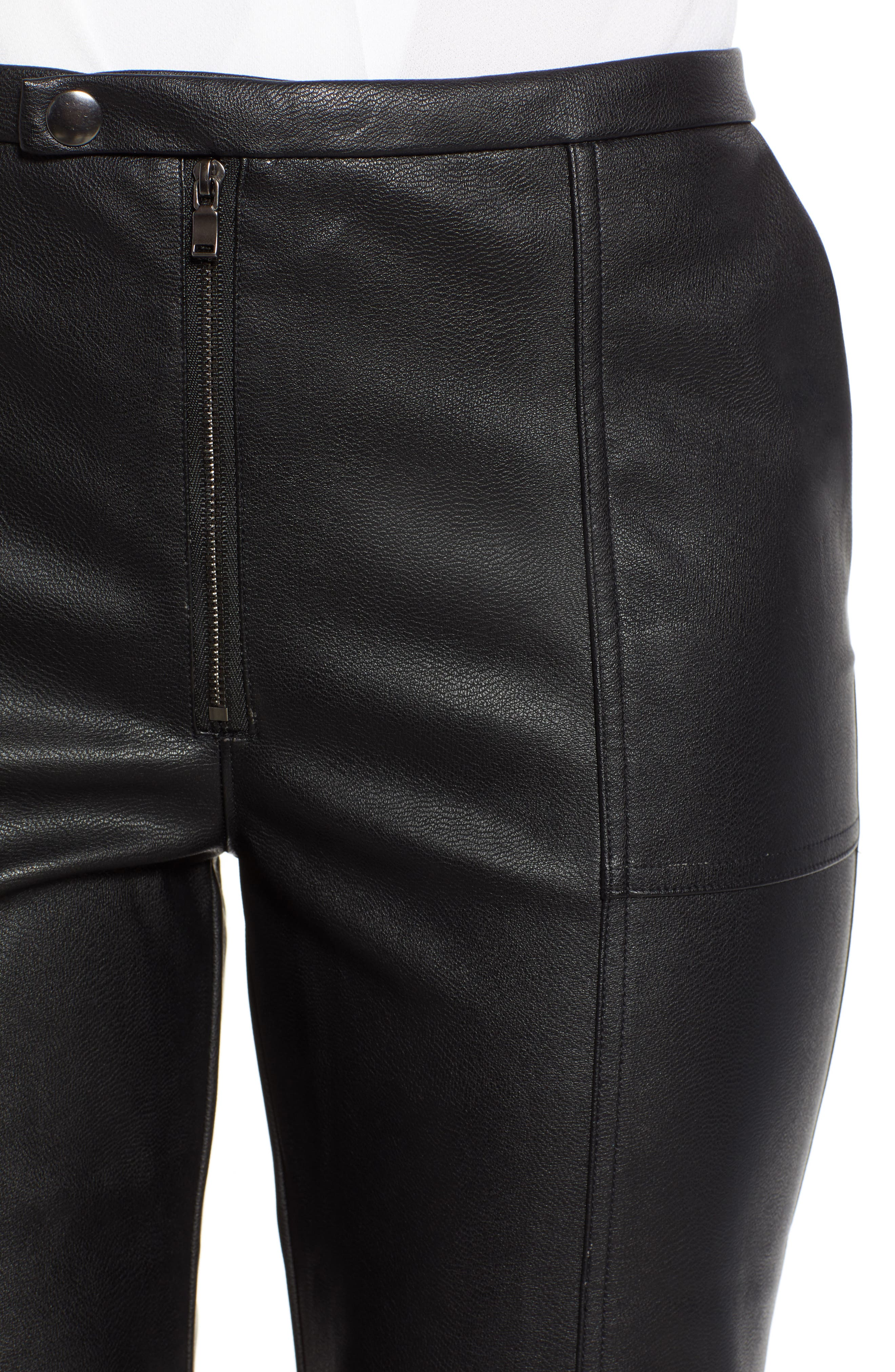DAVID LERNER, Pintuck Flare Faux Leather Trousers, Alternate thumbnail 5, color, 001