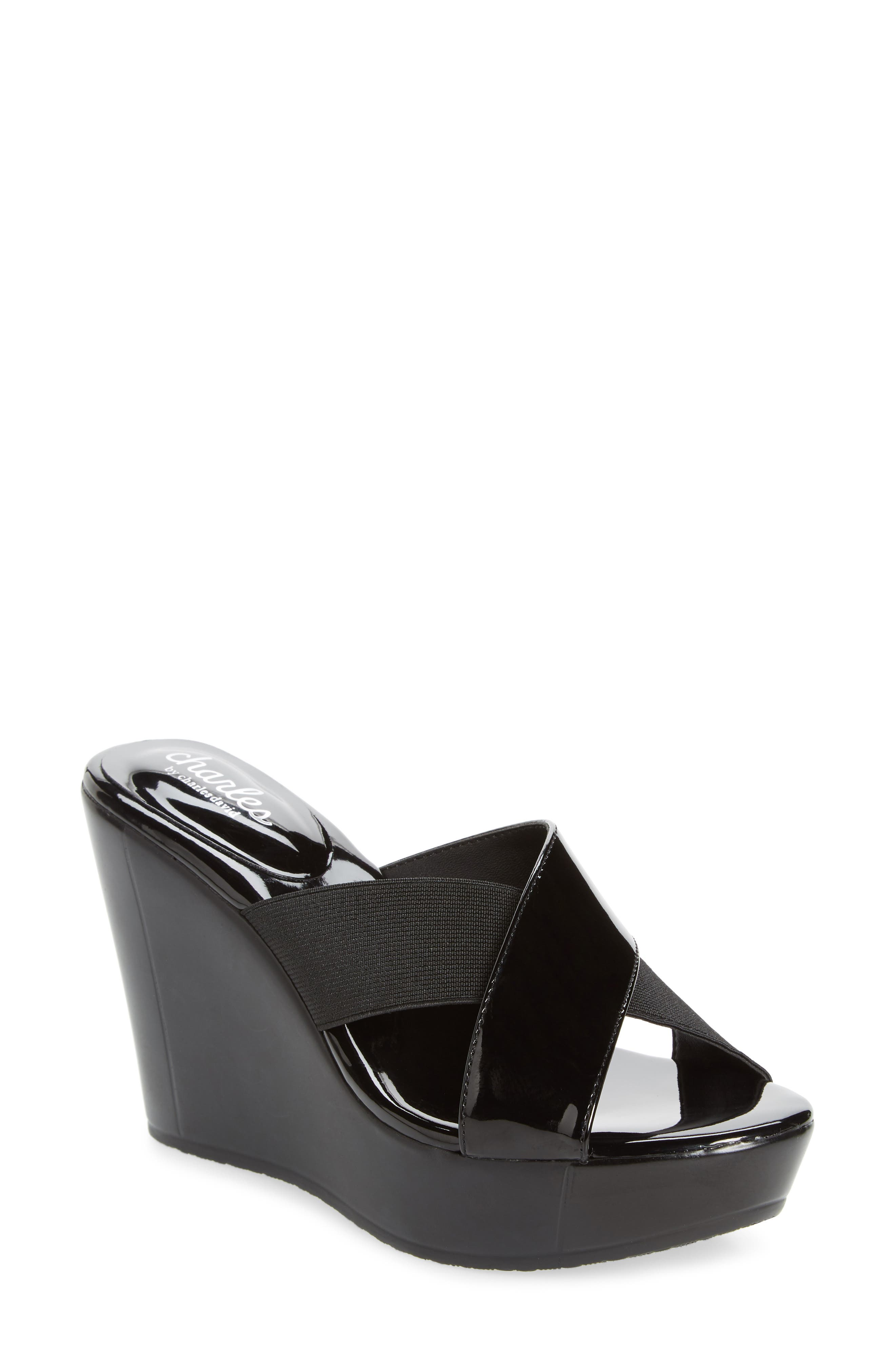 CHARLES BY CHARLES DAVID Fuzho Platform Wedge Sandal, Main, color, BLACK FABRIC/ FAUX PATENT