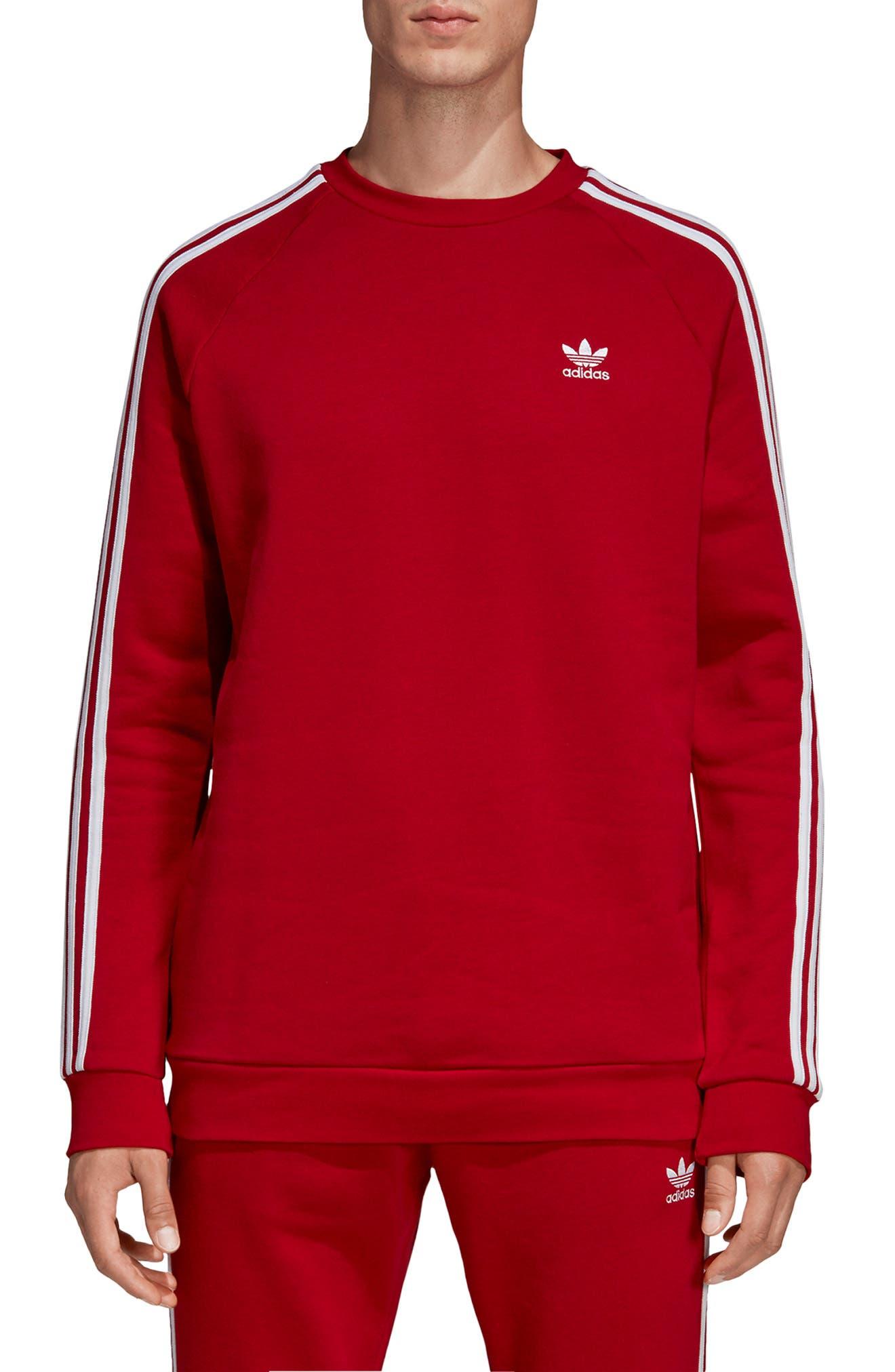 ADIDAS ORIGINALS 3-Stripes Raglan Sweatshirt, Main, color, POWER RED