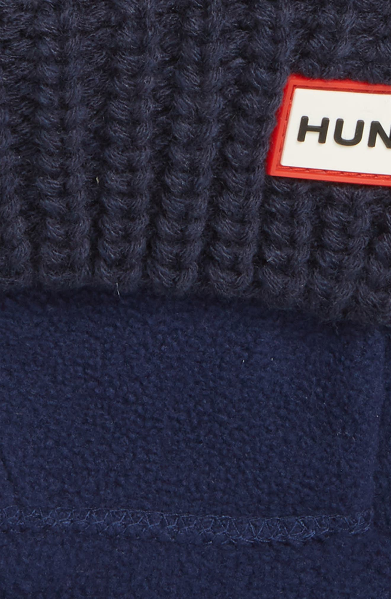 HUNTER, Cardigan Knit Cuff Welly Boot Socks, Alternate thumbnail 2, color, NAVY