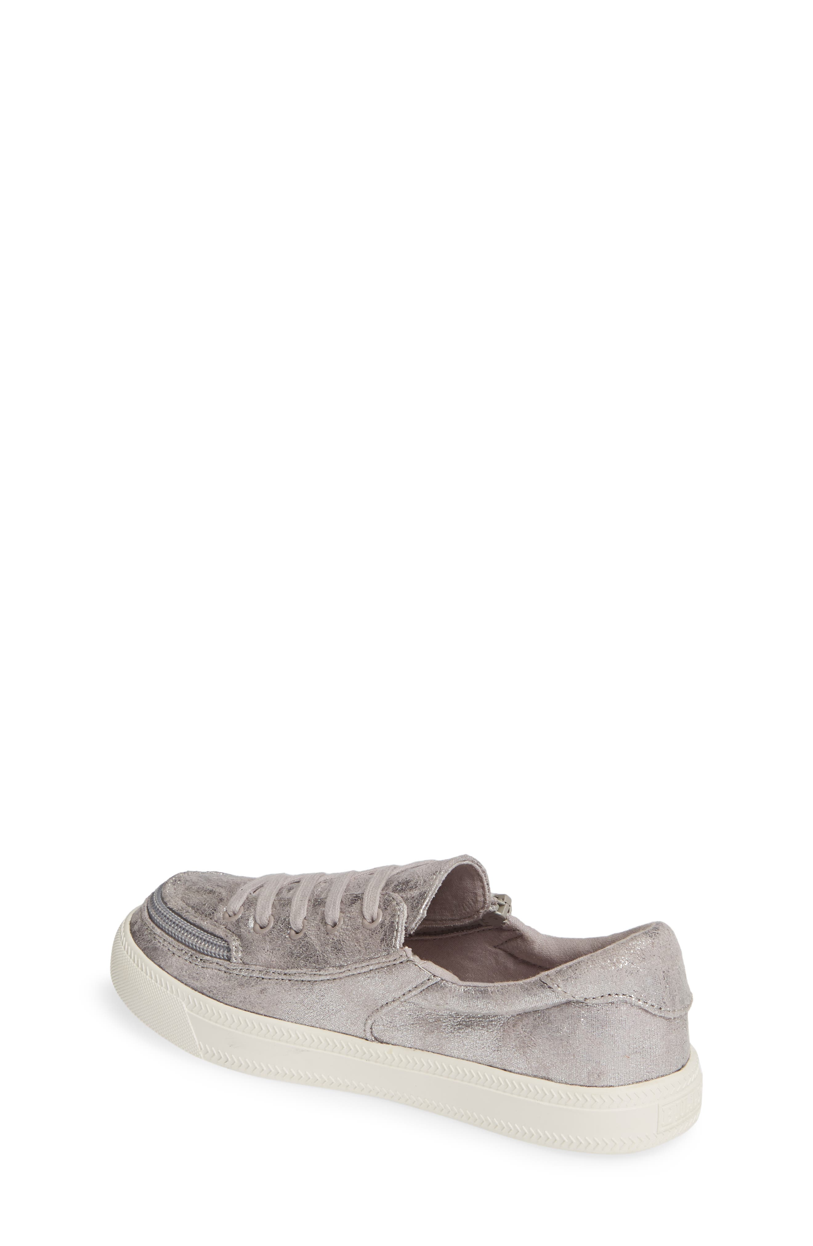 BILLY FOOTWEAR, Zip Around Low Top Sneaker, Alternate thumbnail 2, color, GREY METALLIC